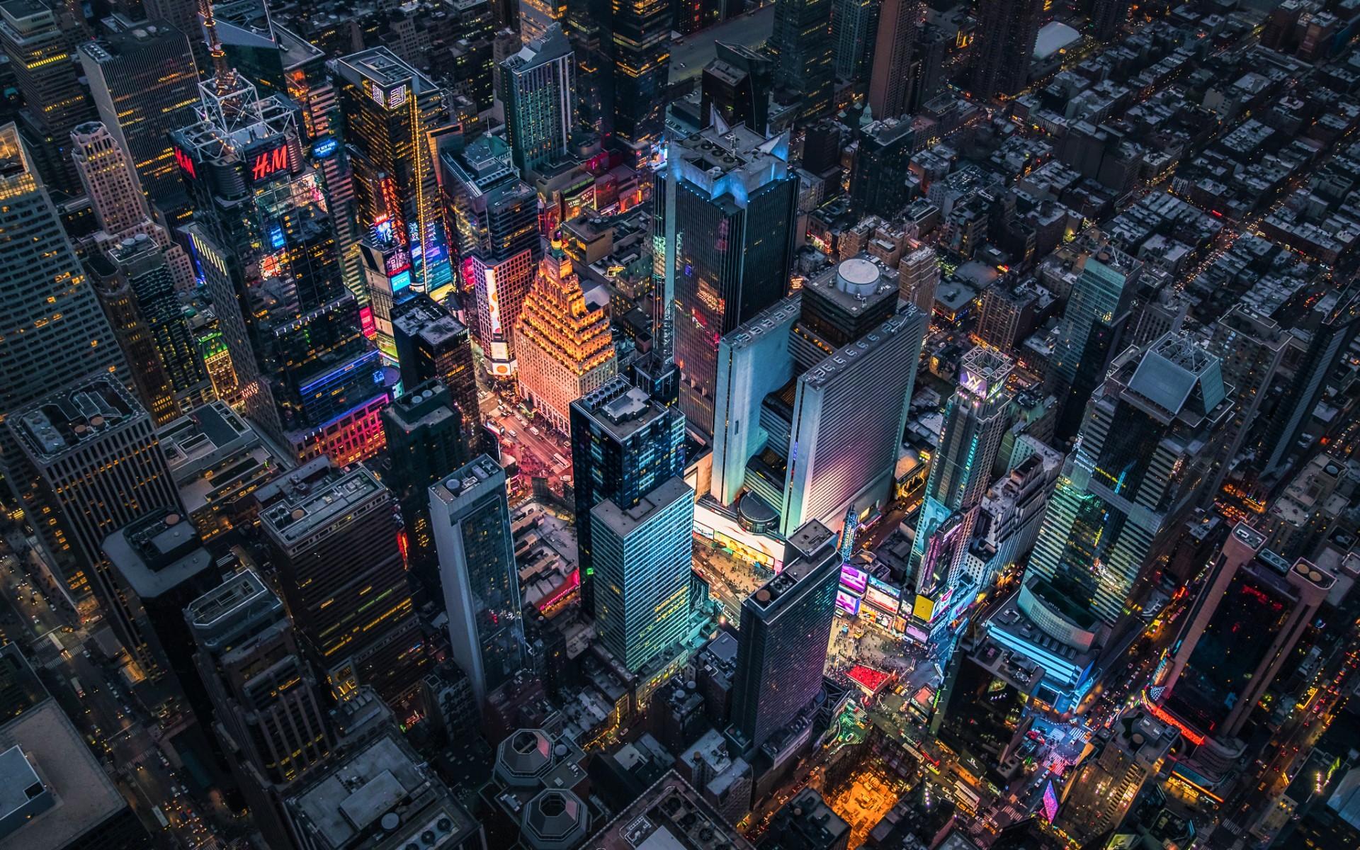 City Manhattan Times Square Aerial Night Light Usa Skyscraper 1920x1200