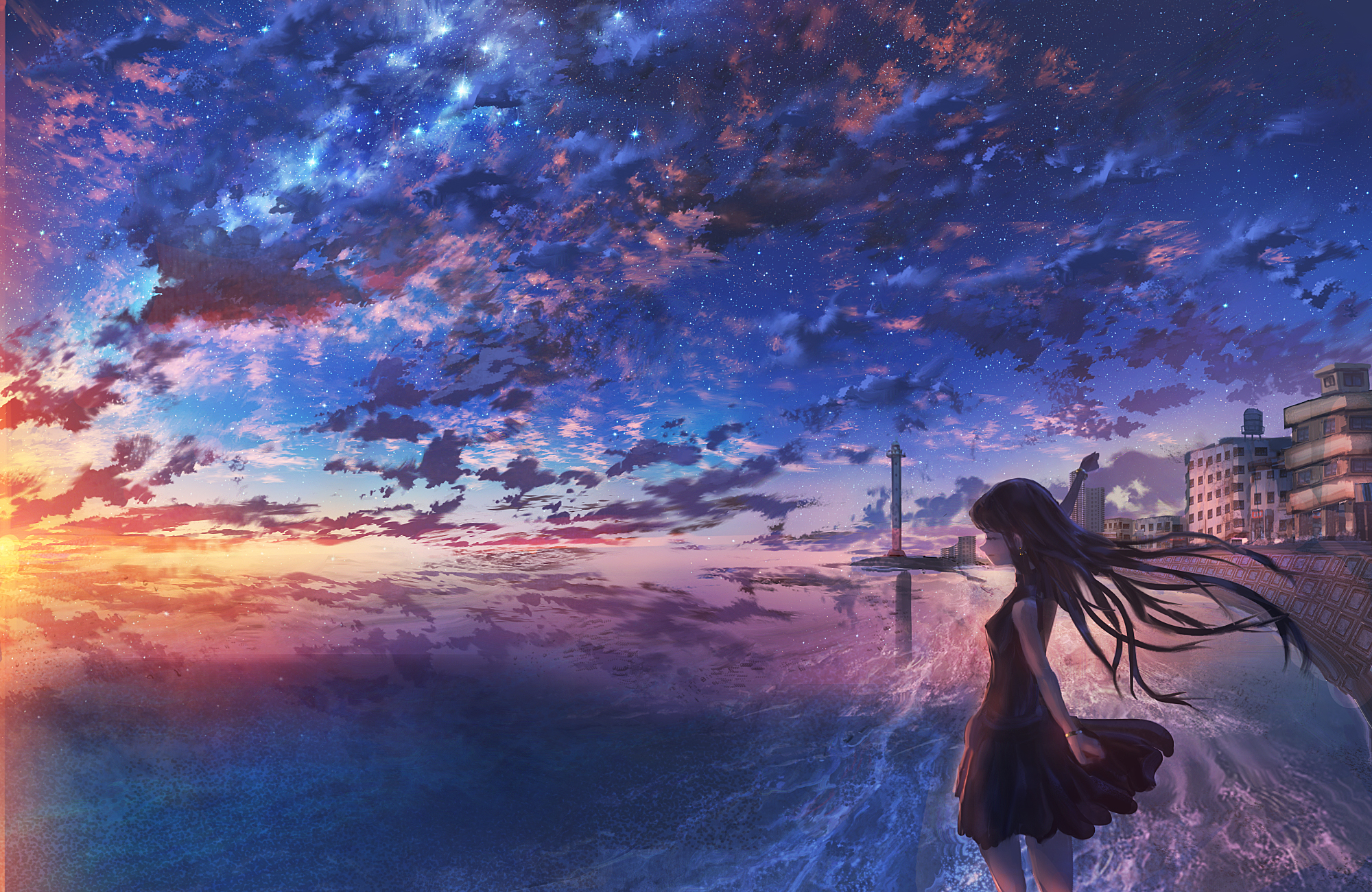 City Girl Horizon Ocean Starry Sky Sunset 2000x1300
