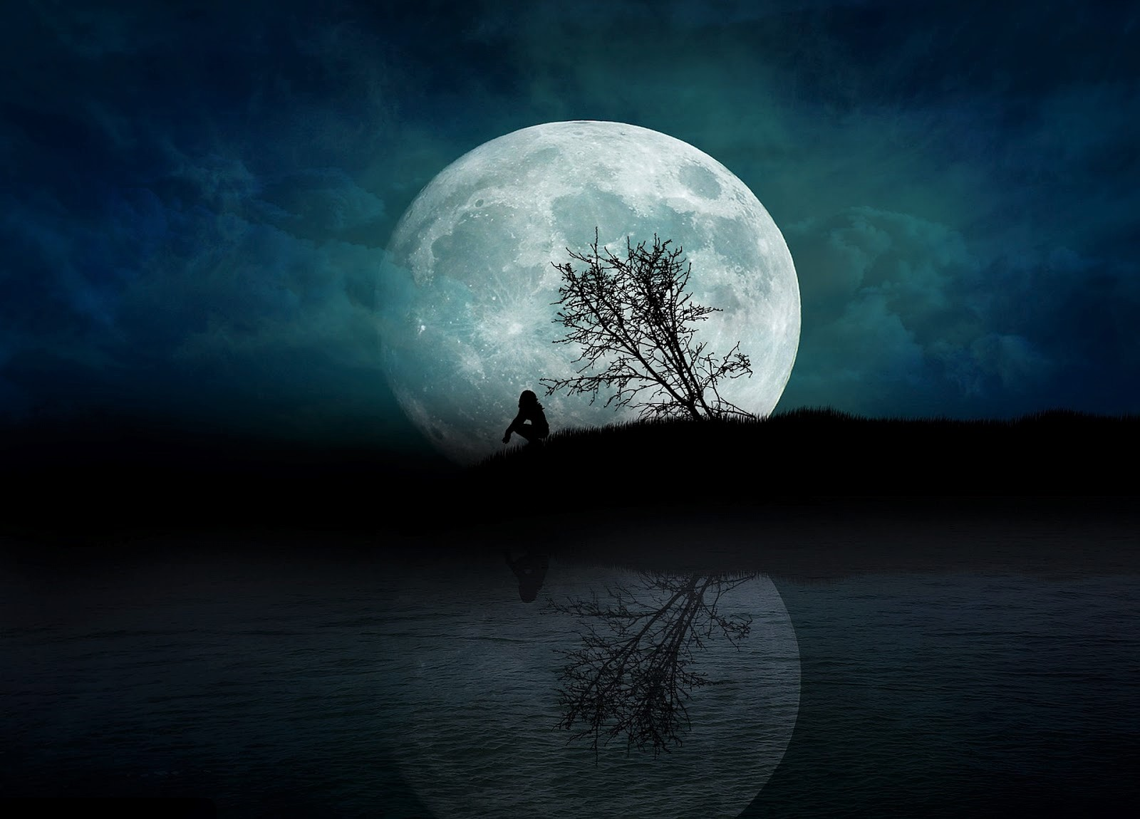 Alone Girl Lonely Moon Night Silhouette Tree 1600x1150