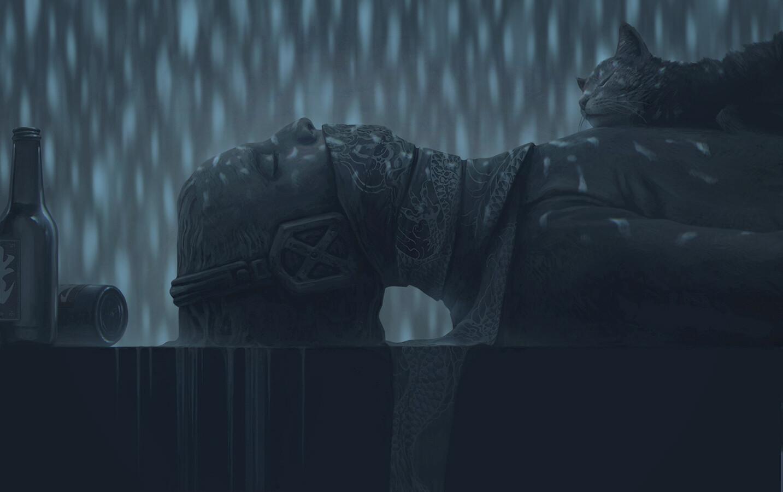 Digital Art Fantasy Art Alexey Egorov Cats Rain Bottles Monochrome 1433x900