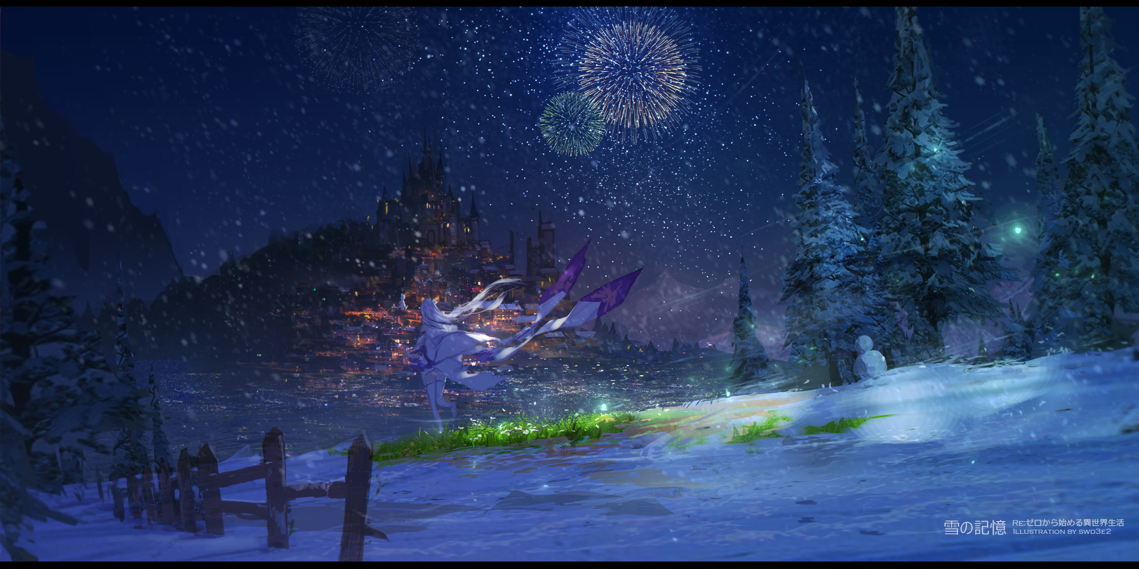 Emilia Re Zero Pack Re Zero Night Fireworks Snowfall 2232x1116