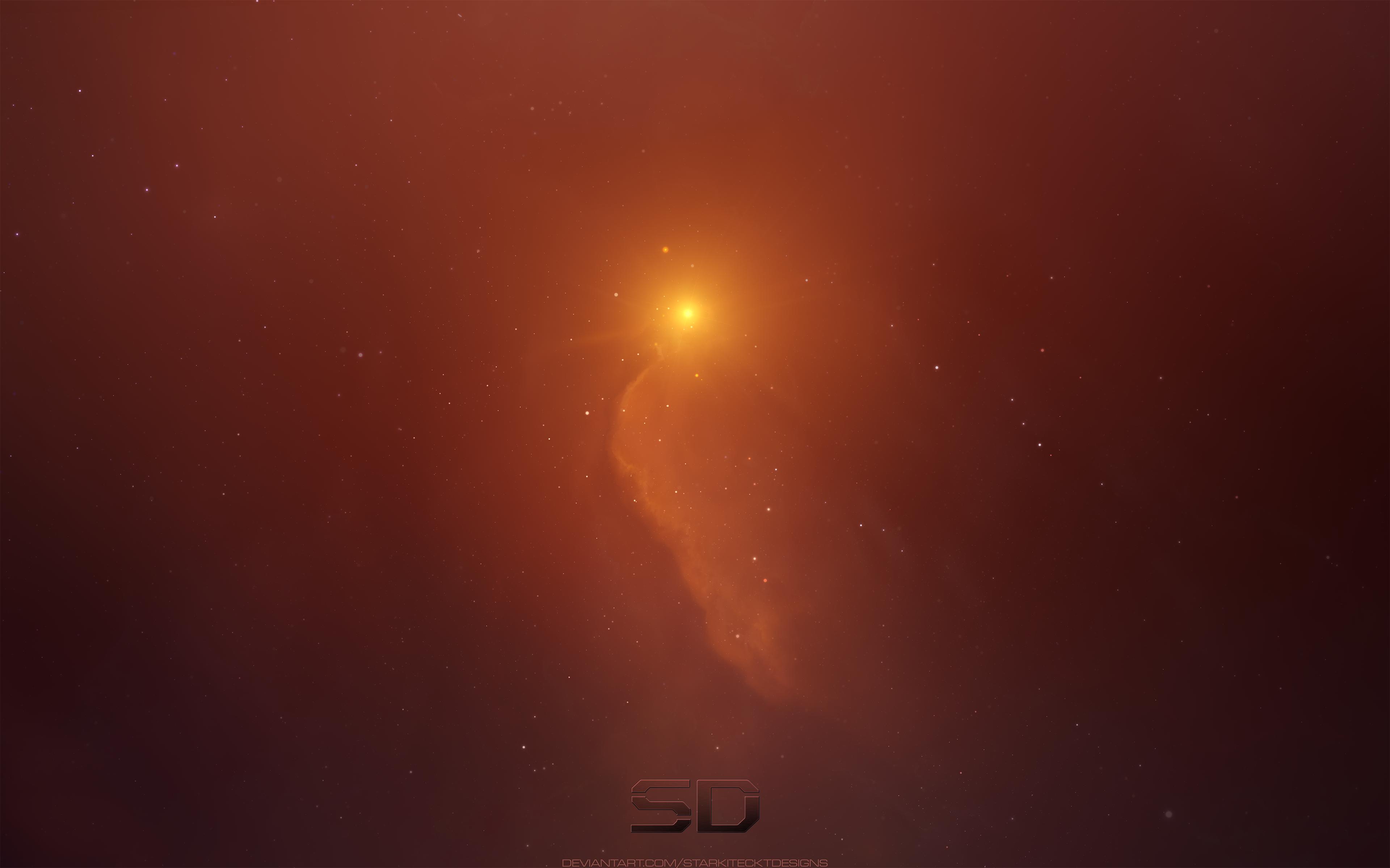 Cosmos Light Nebula Space Orange Color 3840x2400