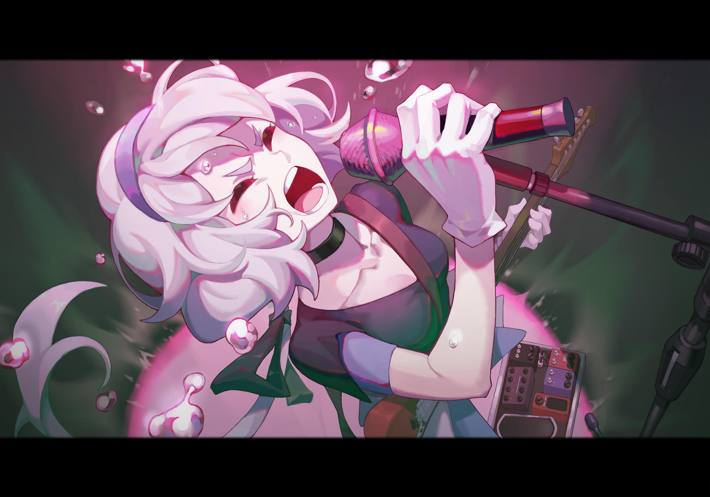 Zombieland Saga Singing Microphone Sweatdrop Black Shirt Closed Eyes Guitar Hairband Anime Girls Zom 3000x2097