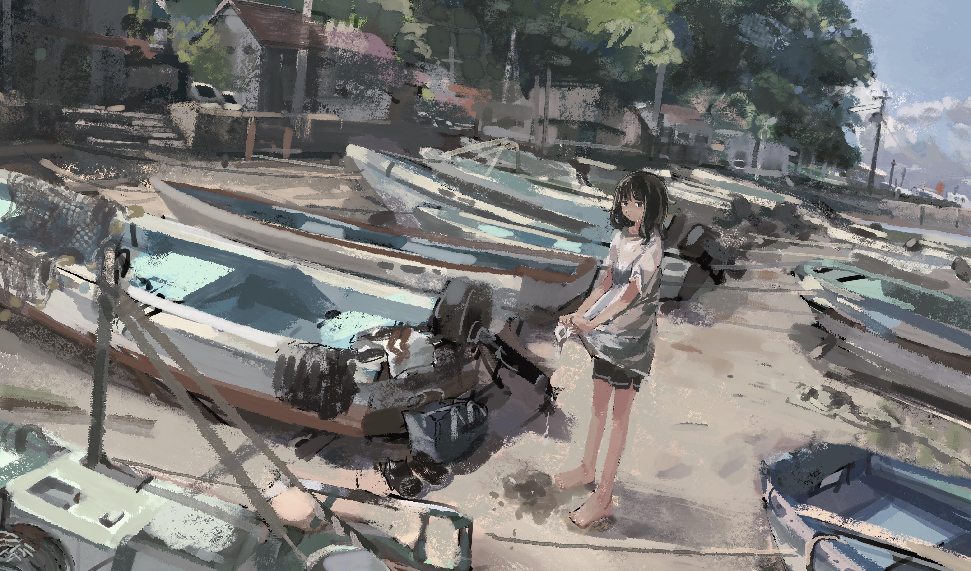 Beach Boat Girl 4093x2409