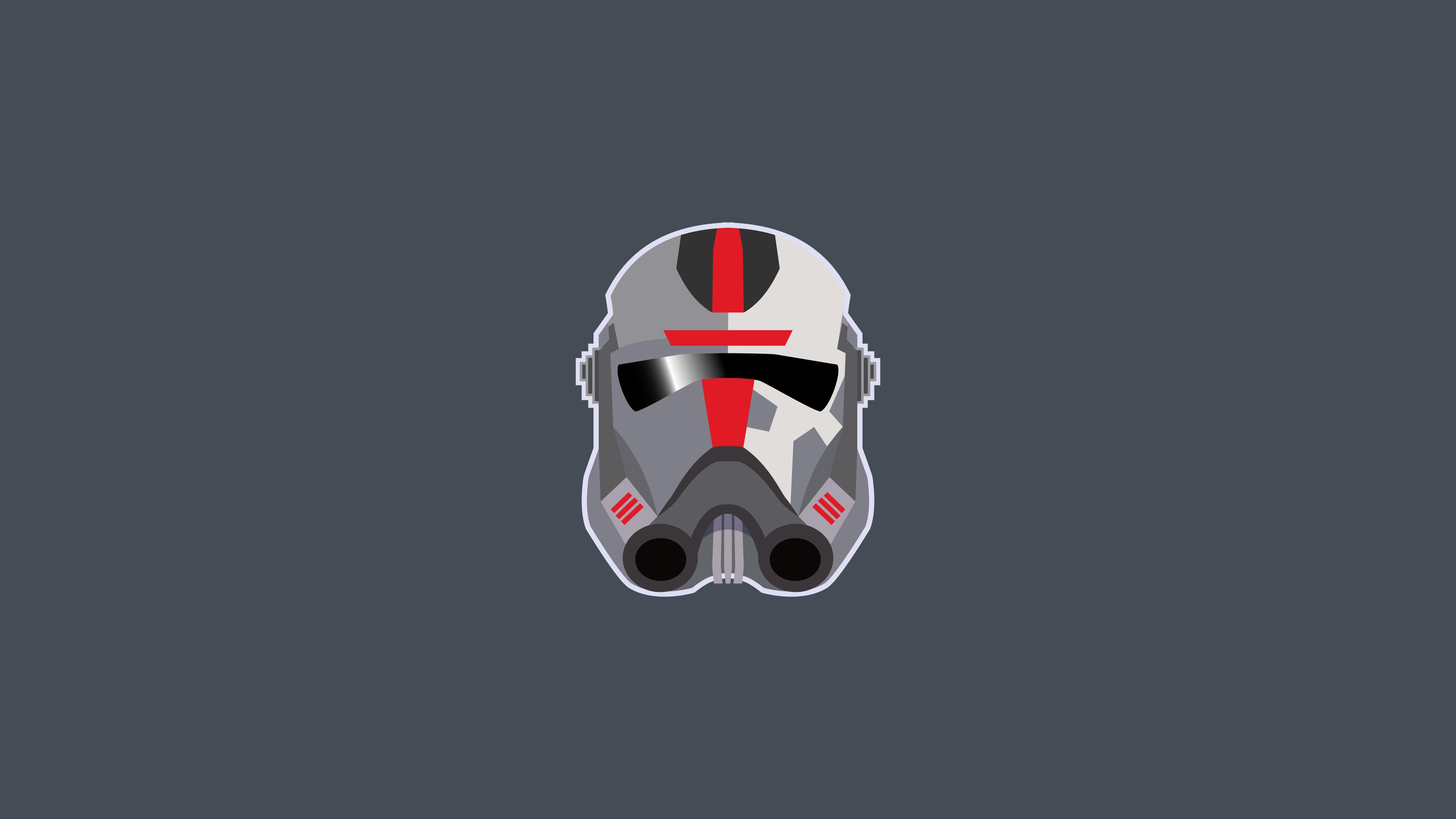 Star Wars Bad Batch Star Wars Bad Batch Helmet Clone Trooper TV Series Minimalism Gray Background 3840x2160
