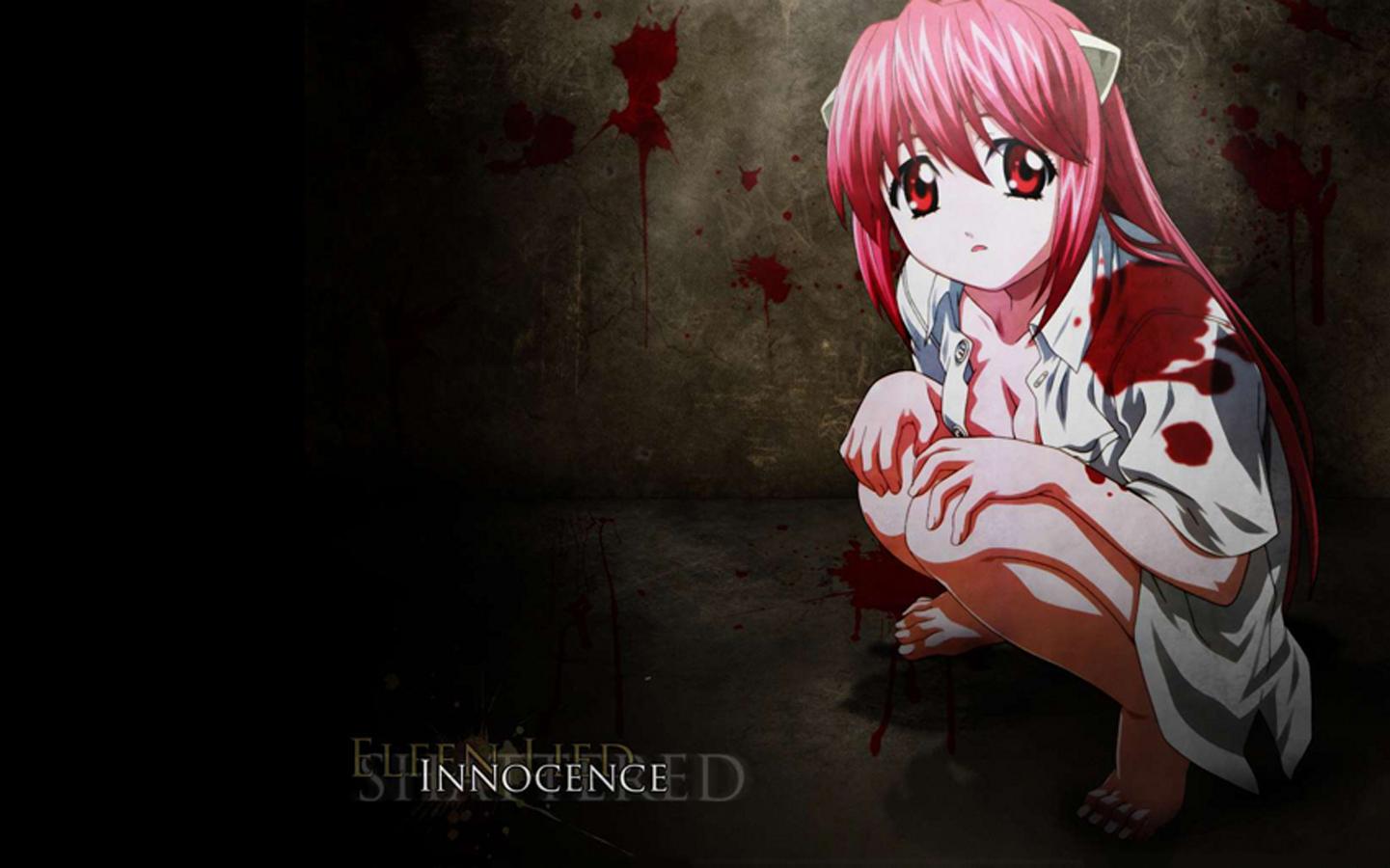 Elfen Lied Lucy Innocence Anime Anime Girls Pink Hair Long Hair Bangs Red Eyes White Shirt Horns Art 1441x900