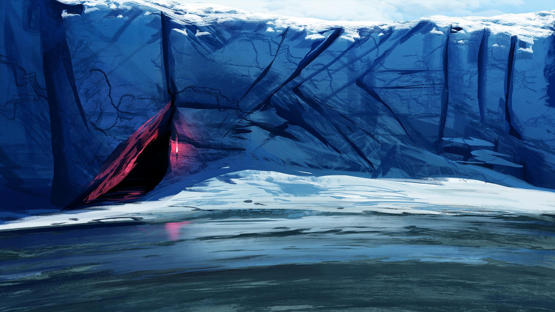 Dark Aurora Borealis Water Ice Artistic Brush 1920x1080