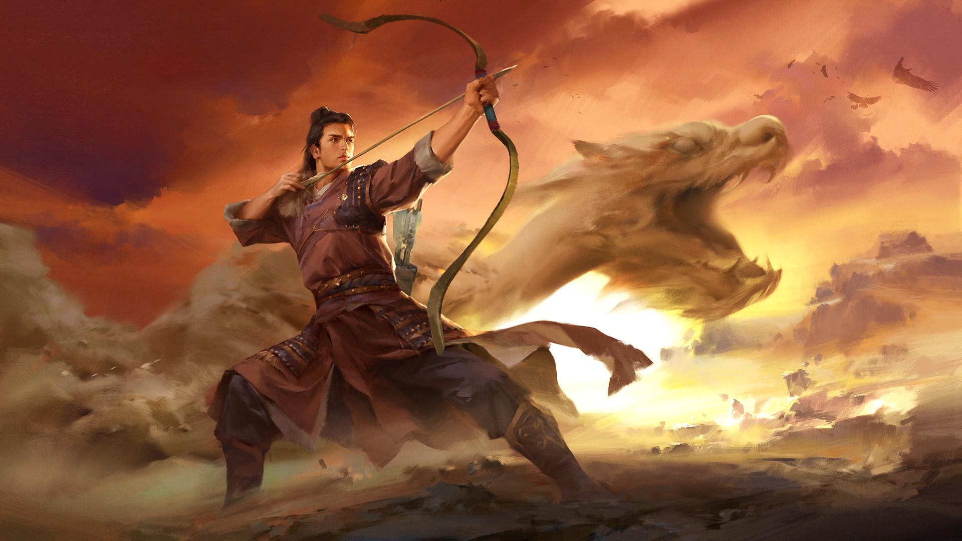 Oriental Warrior Bow Dragon Dust Man 1920x1080