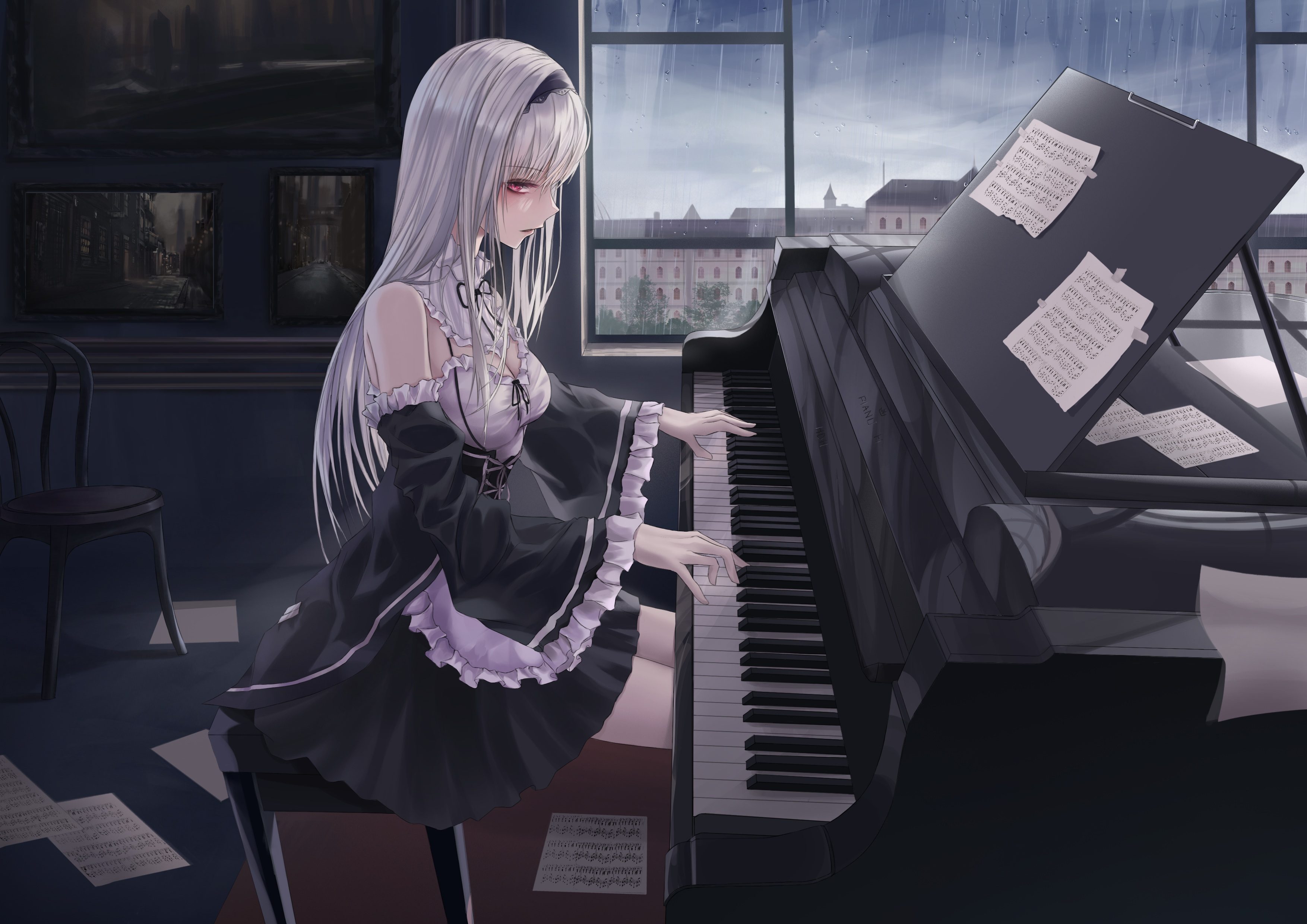 Anime Anime Girls Piano Maid Outfit Silver Hair Red Eyes 3508x2480