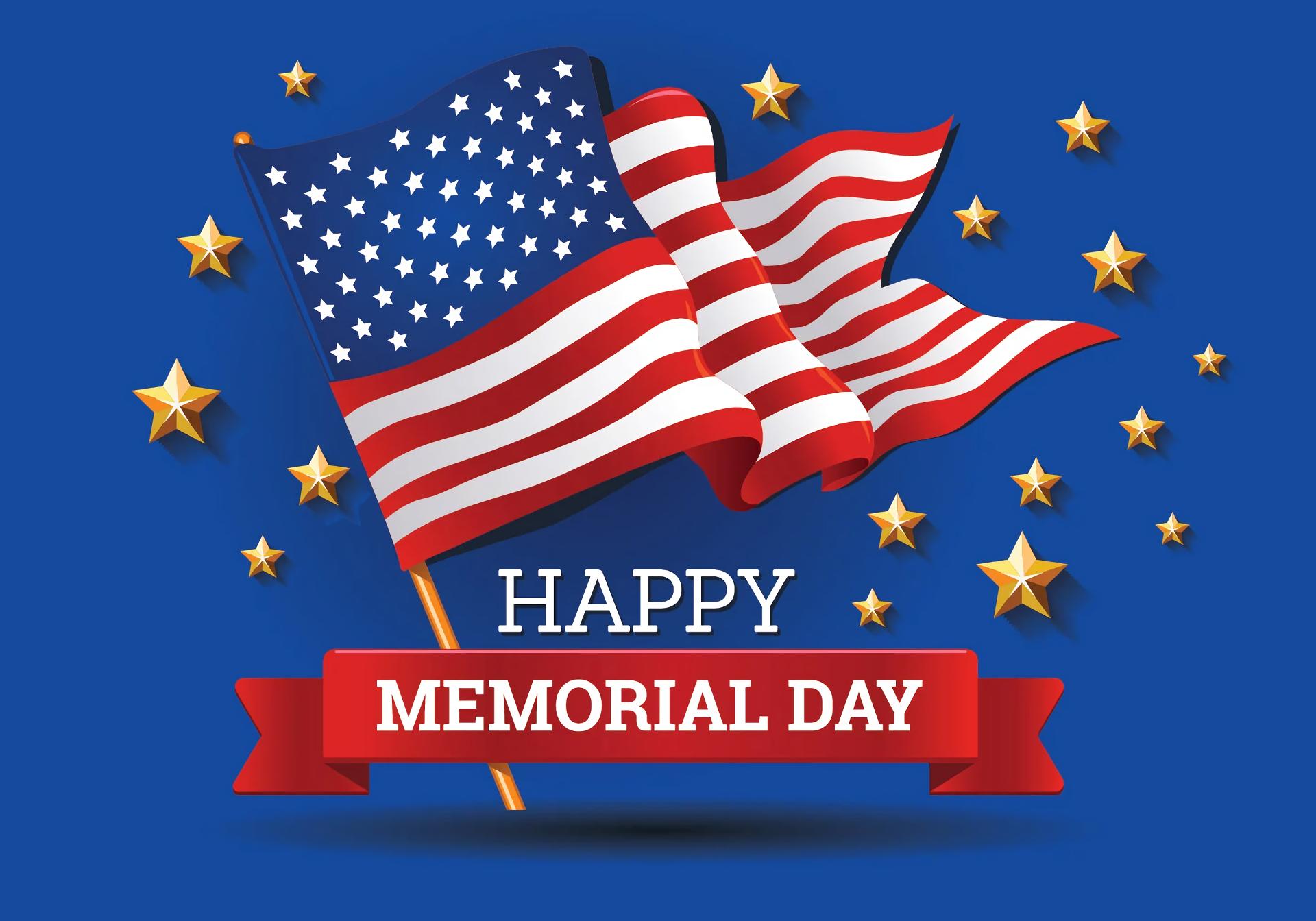 Happy Memorial Day American Flag 1920x1344