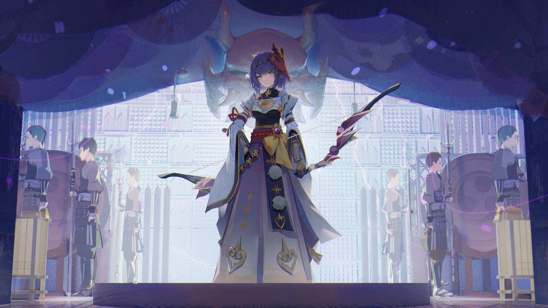 Genshin Impact Anime Girls Video Games Bow Weapon Dress Sara Kujou Mask 1920x1080