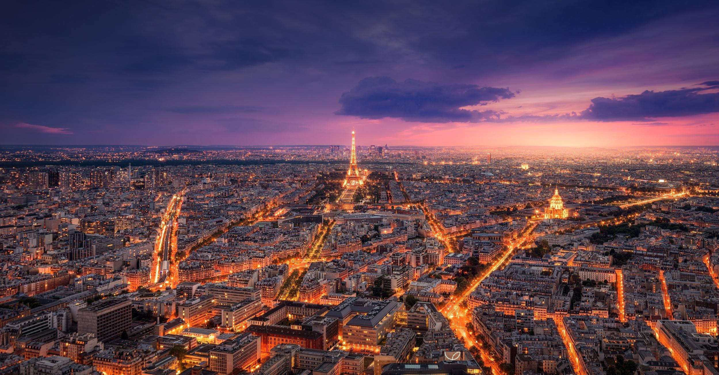 Light City France Eiffel Tower Cityscape 2499x1303