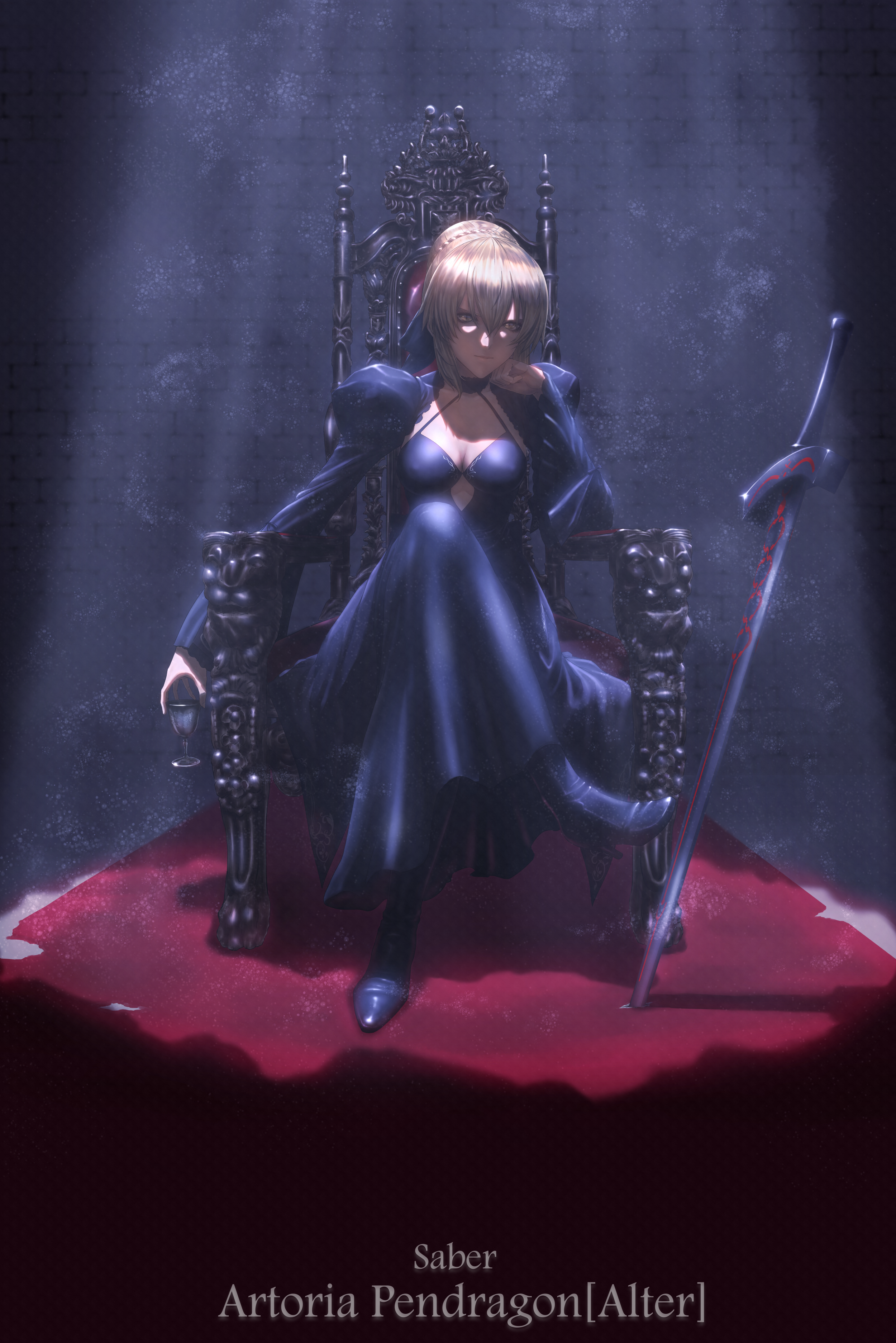 Fate Series Fate Stay Night Fate Stay Night Heavens Feel Black Dress Blonde Female Warrior Sitting F 2500x3746