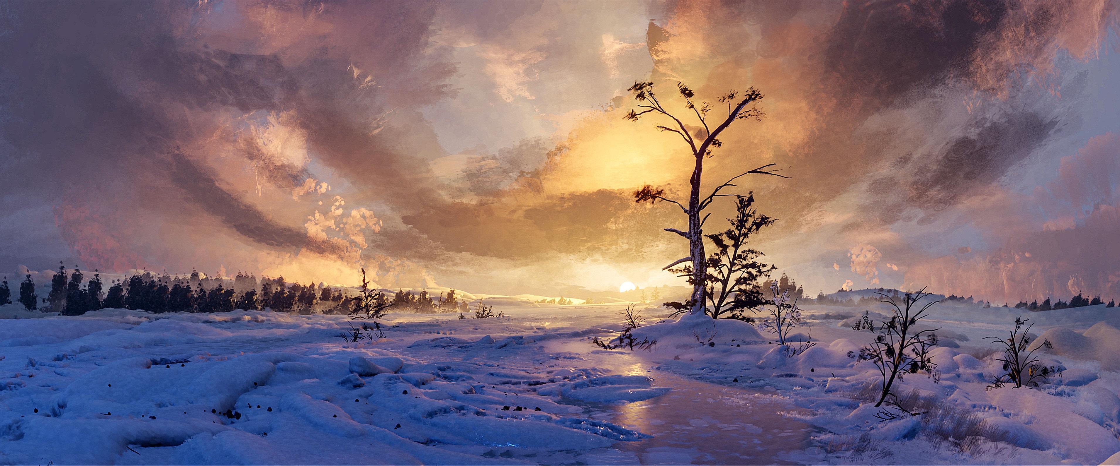 Winter Tree Sky Snow 3820x1592