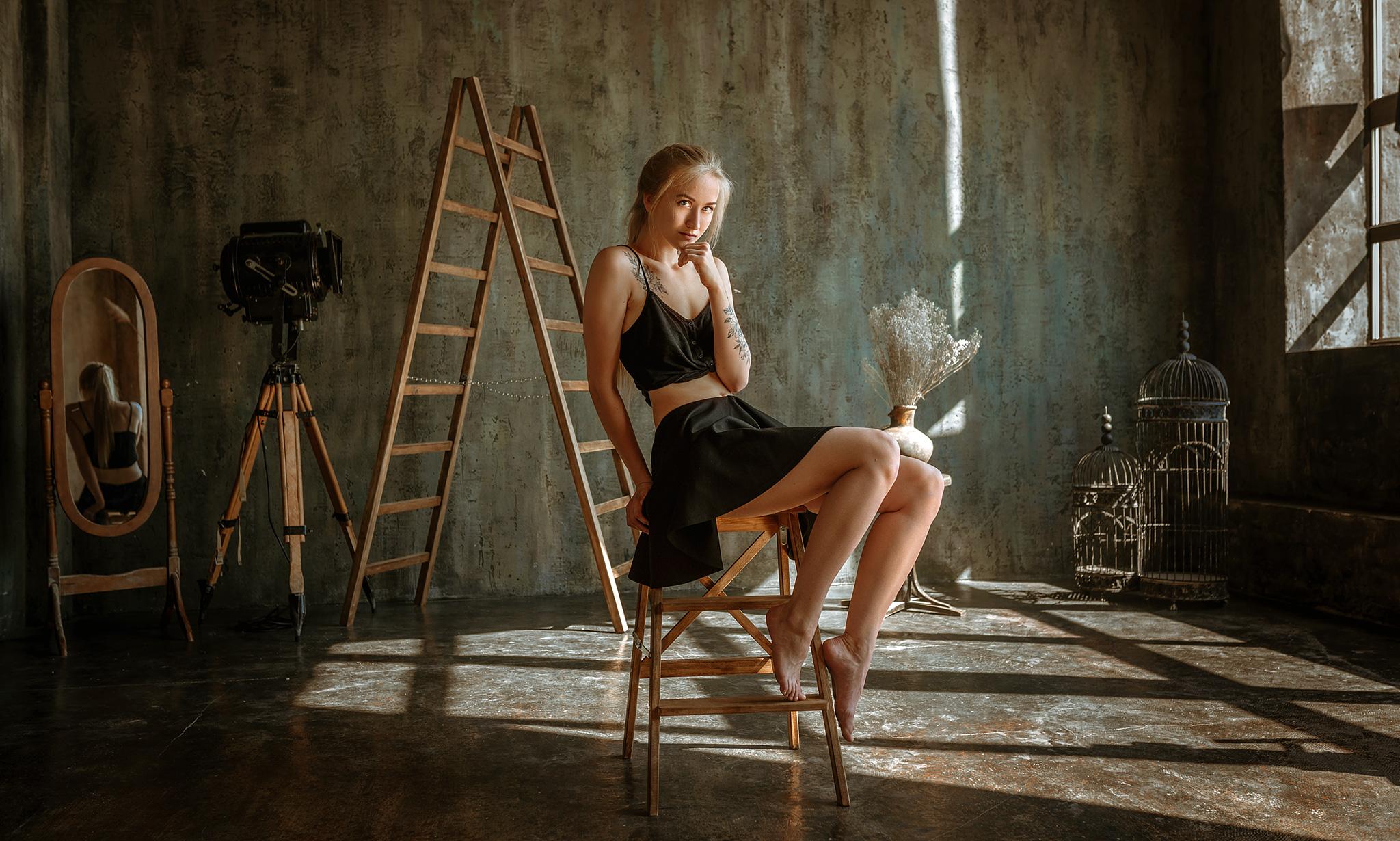 Women Model Blonde Looking At Viewer Black Tops Sitting Black Clothing Barefoot Stairs Mirror Reflec 2048x1230