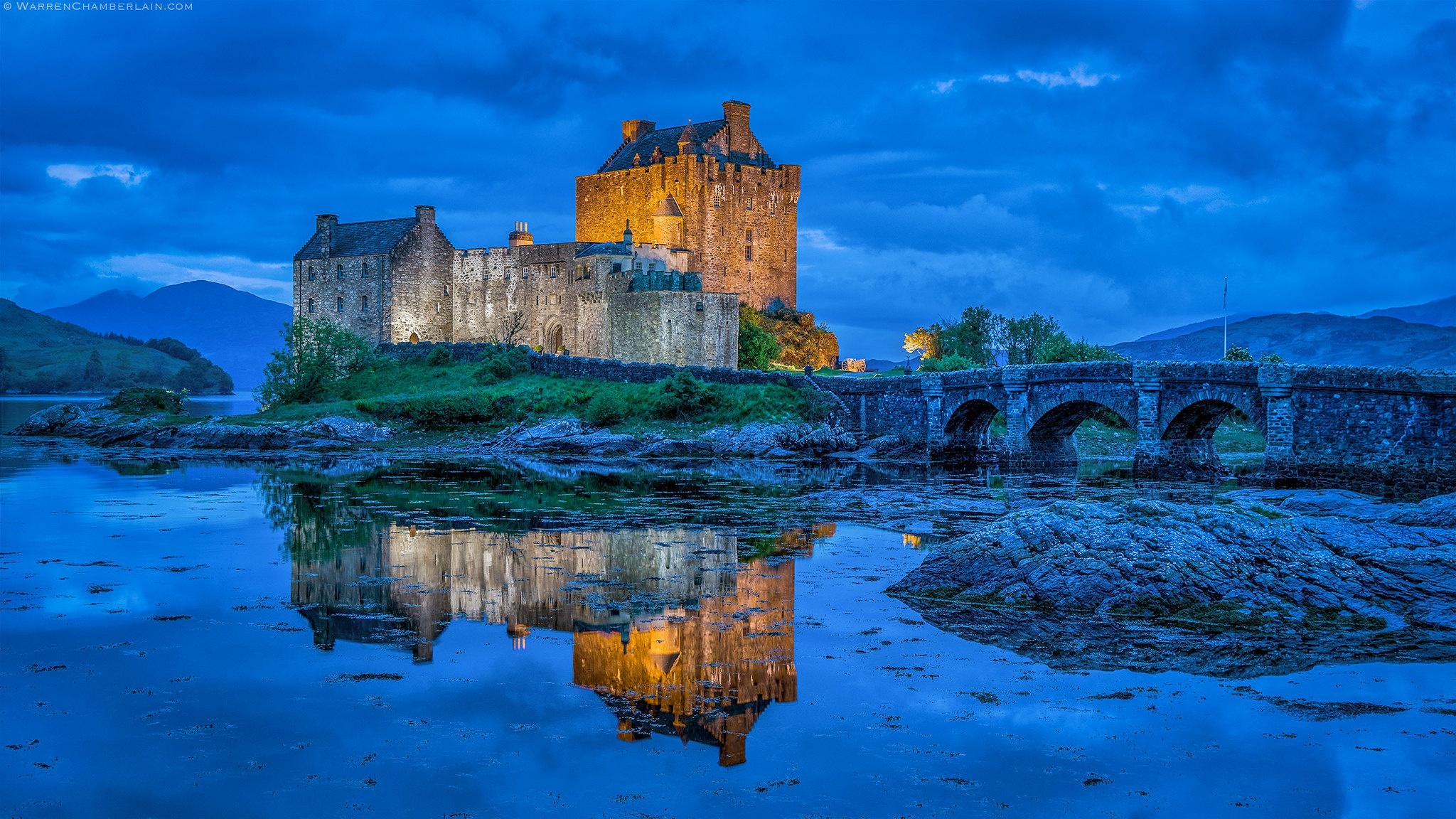 Bridge Reflection Castle Scotland 2048x1152