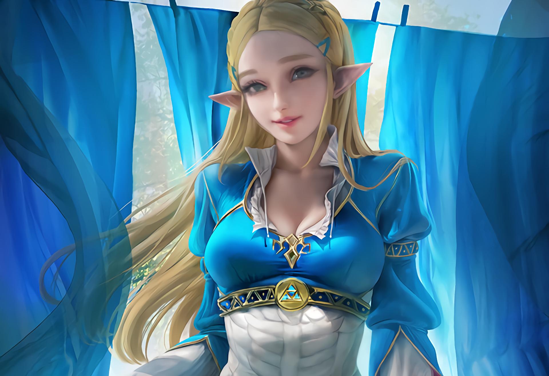 Anime Anime Girls Princess Zelda The Legend Of Zelda Breath Of The Wild Sakimichan Blonde Long Hair  1920x1315