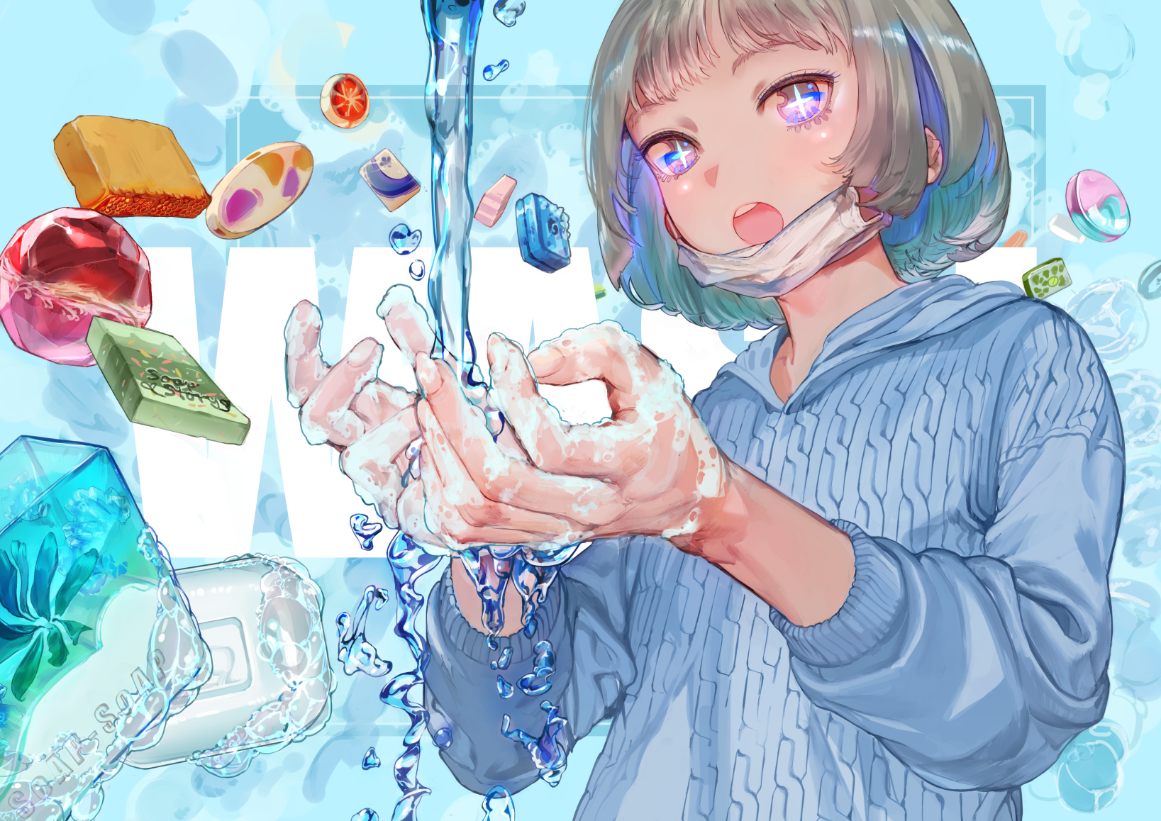 Anime Anime Girls Water Soap Mask Blonde Short Hair Open Mouth Candy Bubble Baths Washing 1637x1158