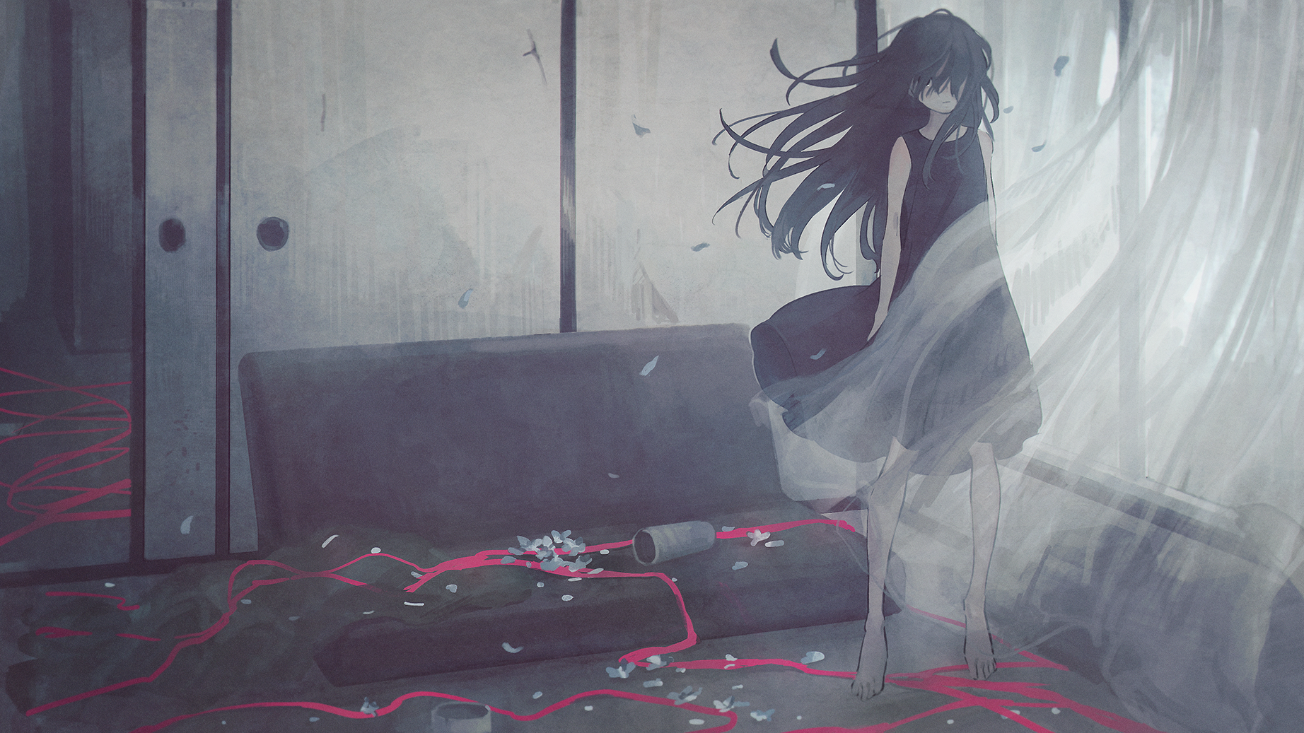 Anime Anime Girls Long Hair Black Hair Black Dress Petals Curtains Couch Ribbons 1844x1037