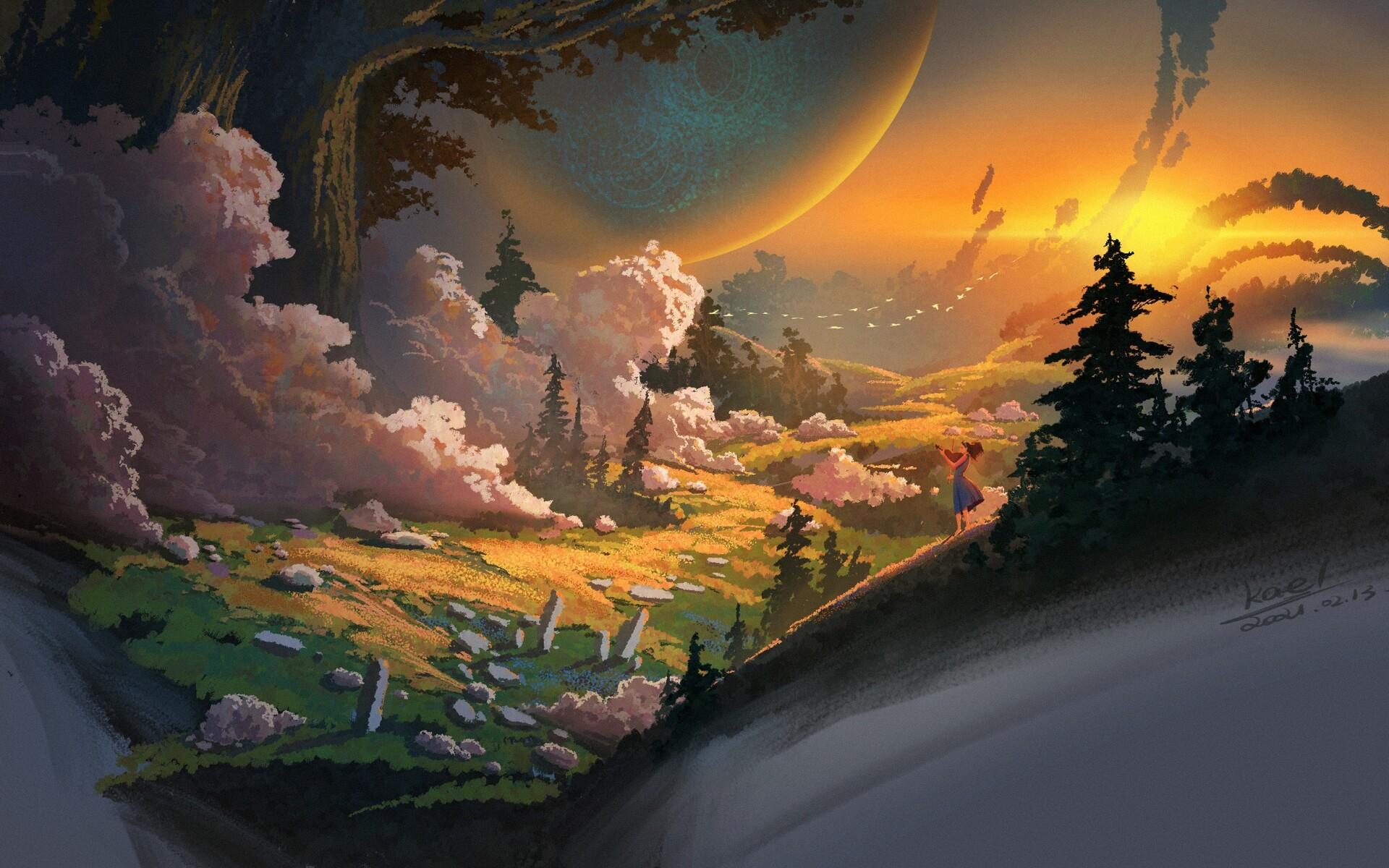 Digital Art Landscape Clouds Forest Violin Birds Kael 1920x1200