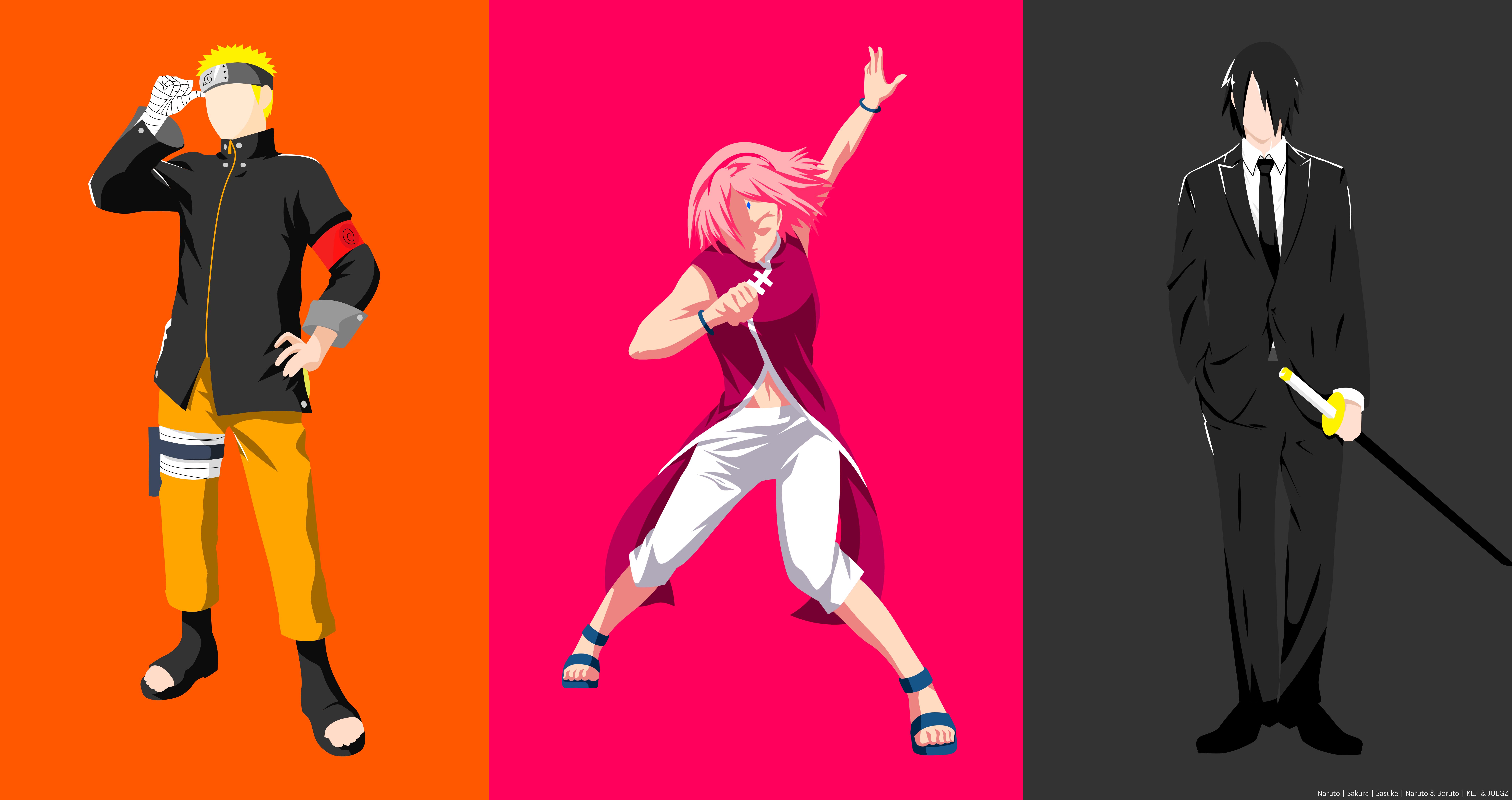 Black Hair Blonde Boruto Naruto Next Generations Boy Girl Minimalist Naruto Naruto Uzumaki Pink Hair 8500x4500
