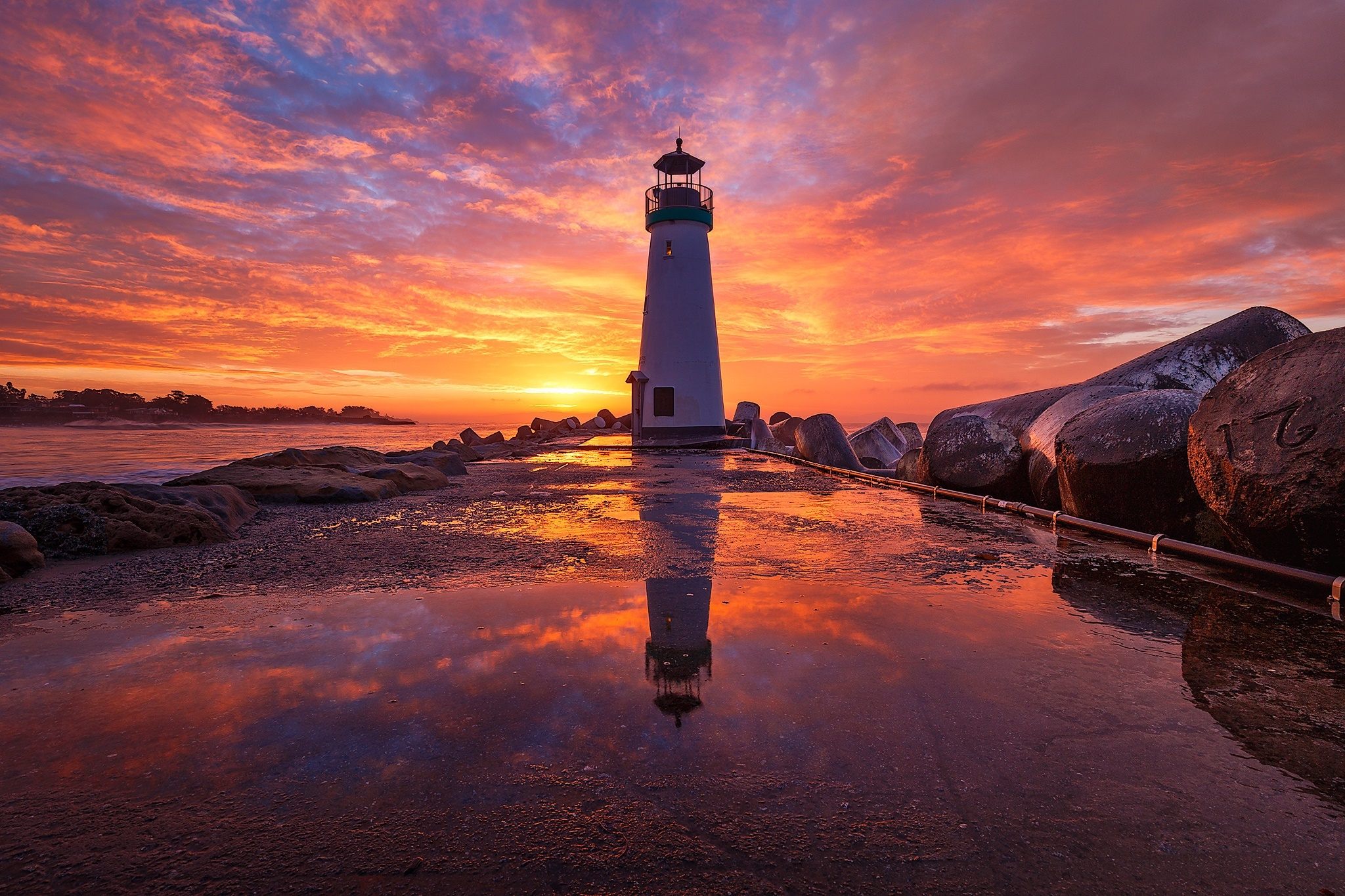 Building Reflection Sunrise Sky 2048x1365