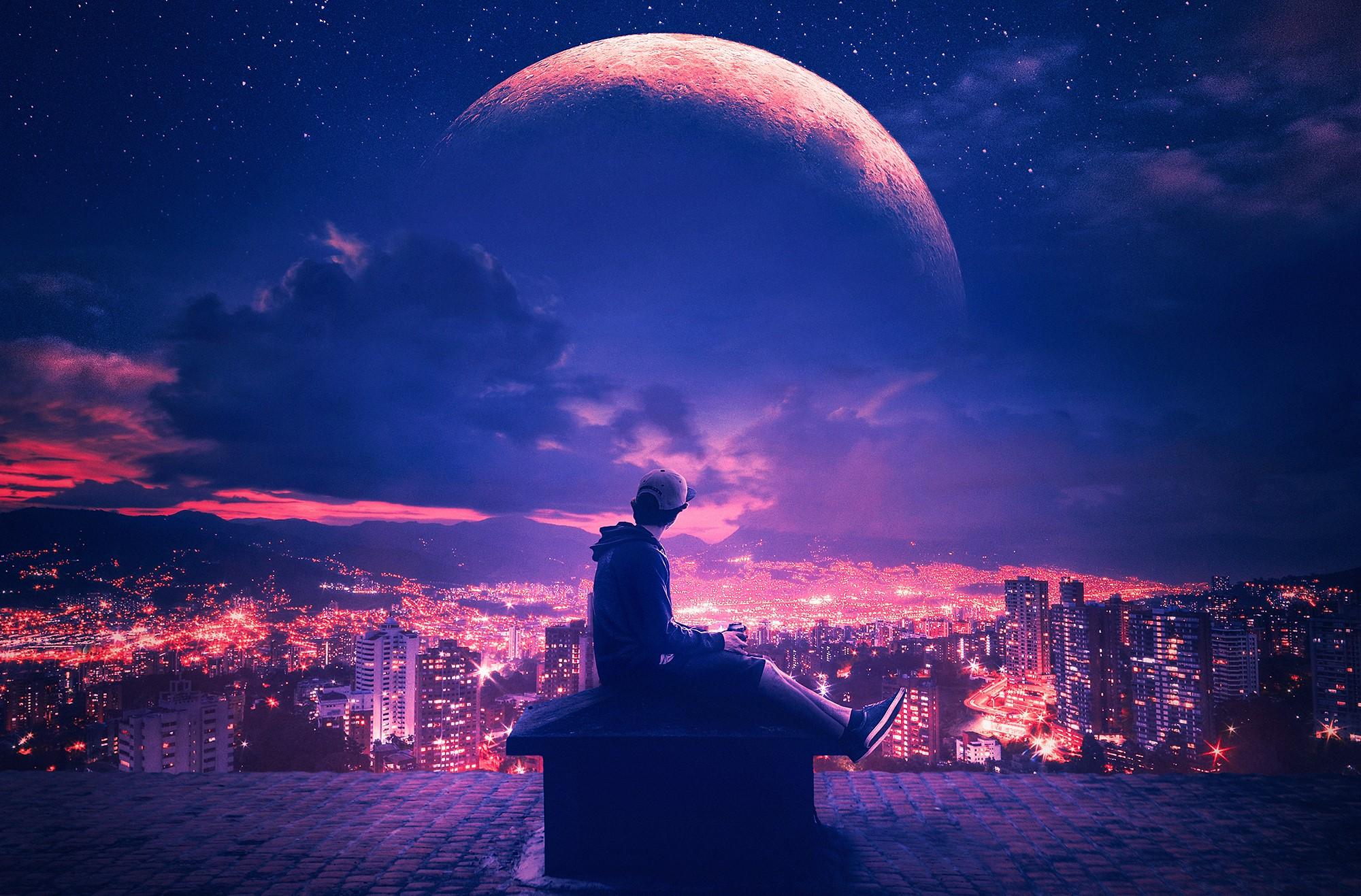 Planet Sky City Purple Night Light Man 2000x1317