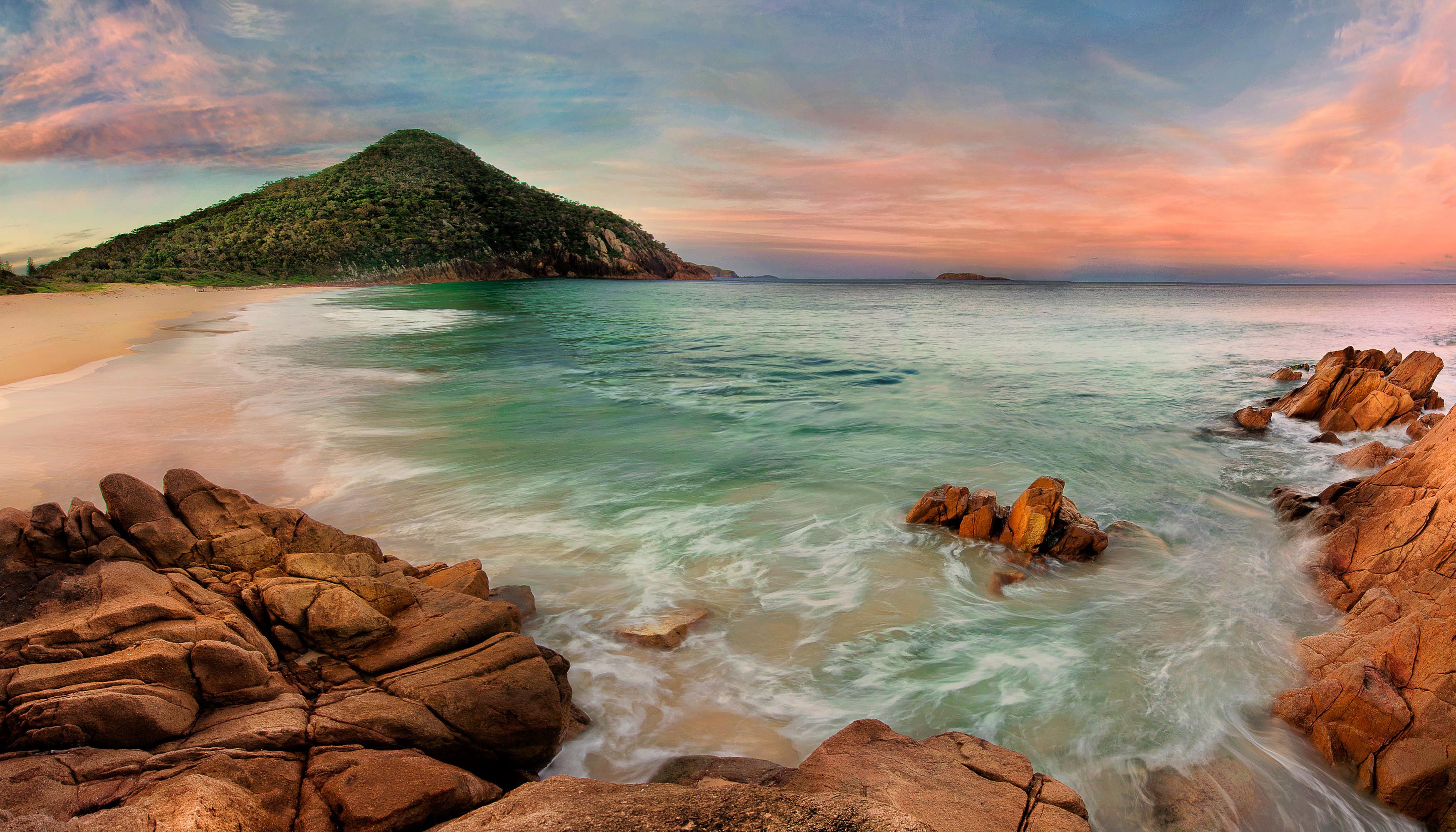 Ocean Sea Beach Rock Australia Sky Horizon 3500x2000
