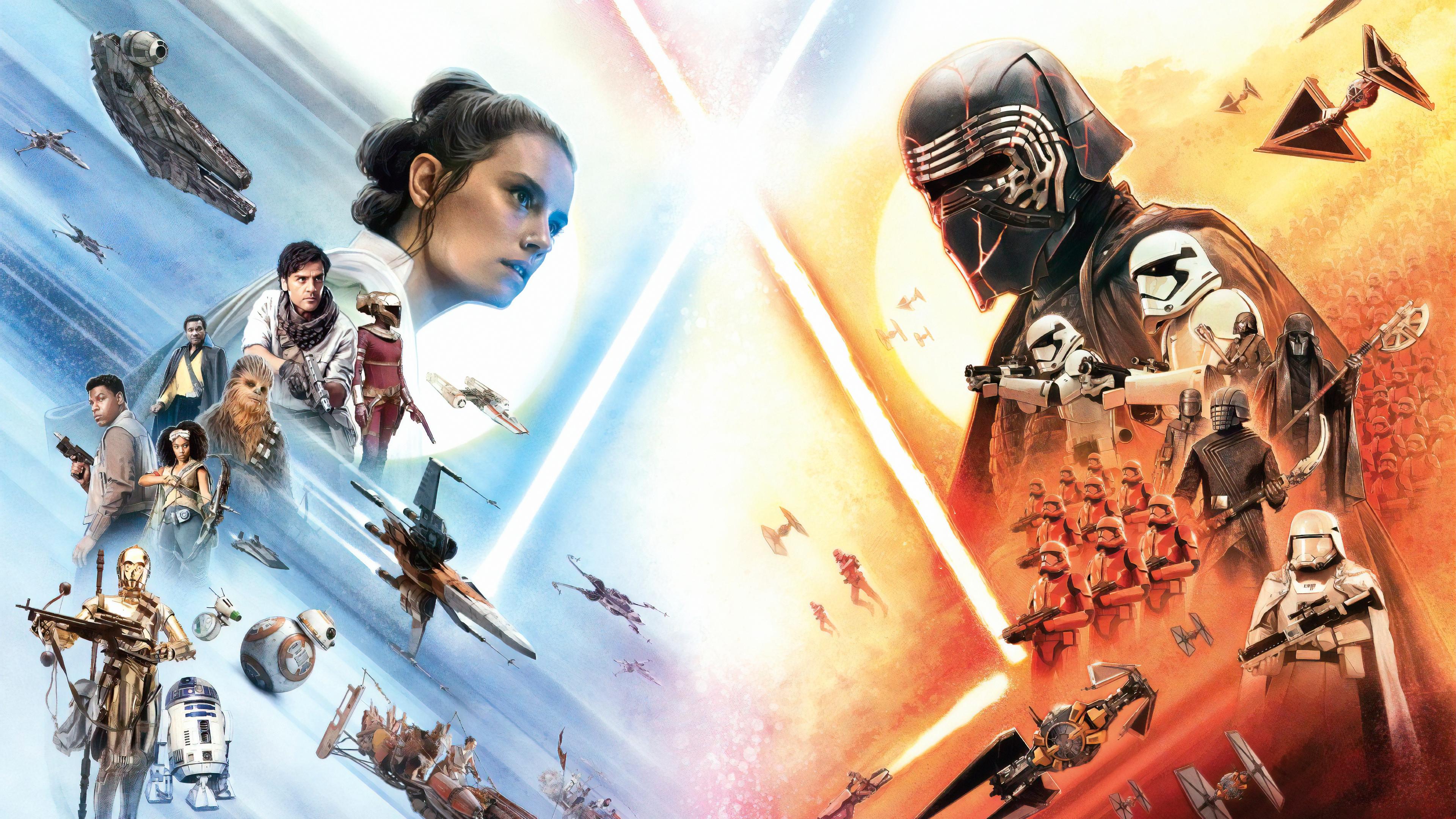 C 3po Chewbacca Finn Star Wars Kylo Ren Lando Calrissian Poe Dameron Rey Star Wars Star Wars Star Wa 3840x2160