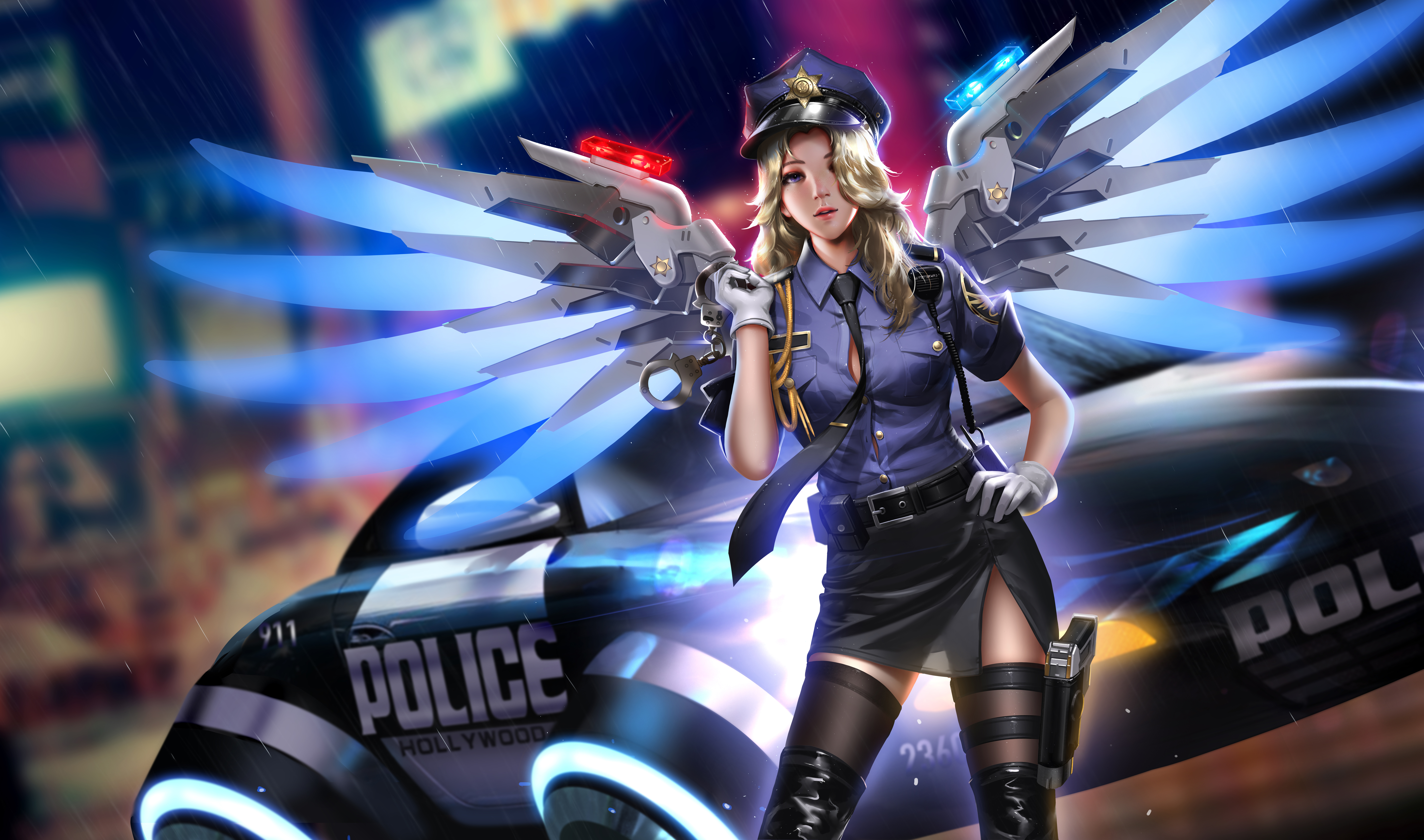 Mercy Overwatch Overwatch Video Games Video Game Girls Berets Video Game Characters Blonde Police Wo 8000x4720
