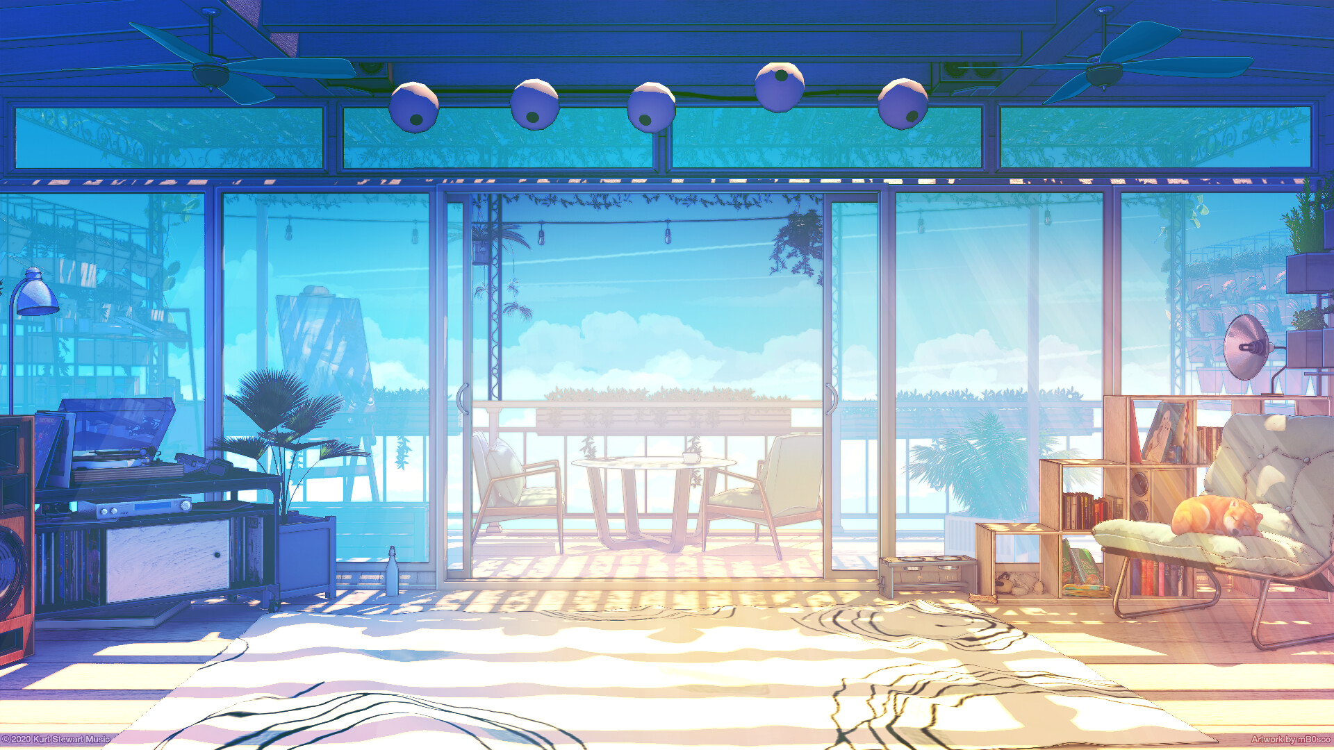 Digital Art Digital Bogdan MB0sco Sunlight Dog Shiba Inu Shiba Record Players Balcony 1920x1080