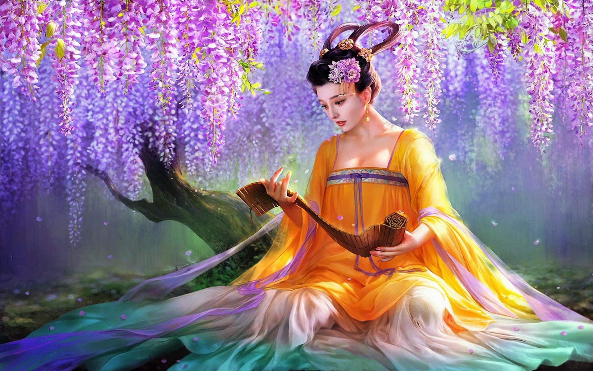 Woman Asian Wisteria 1920x1200