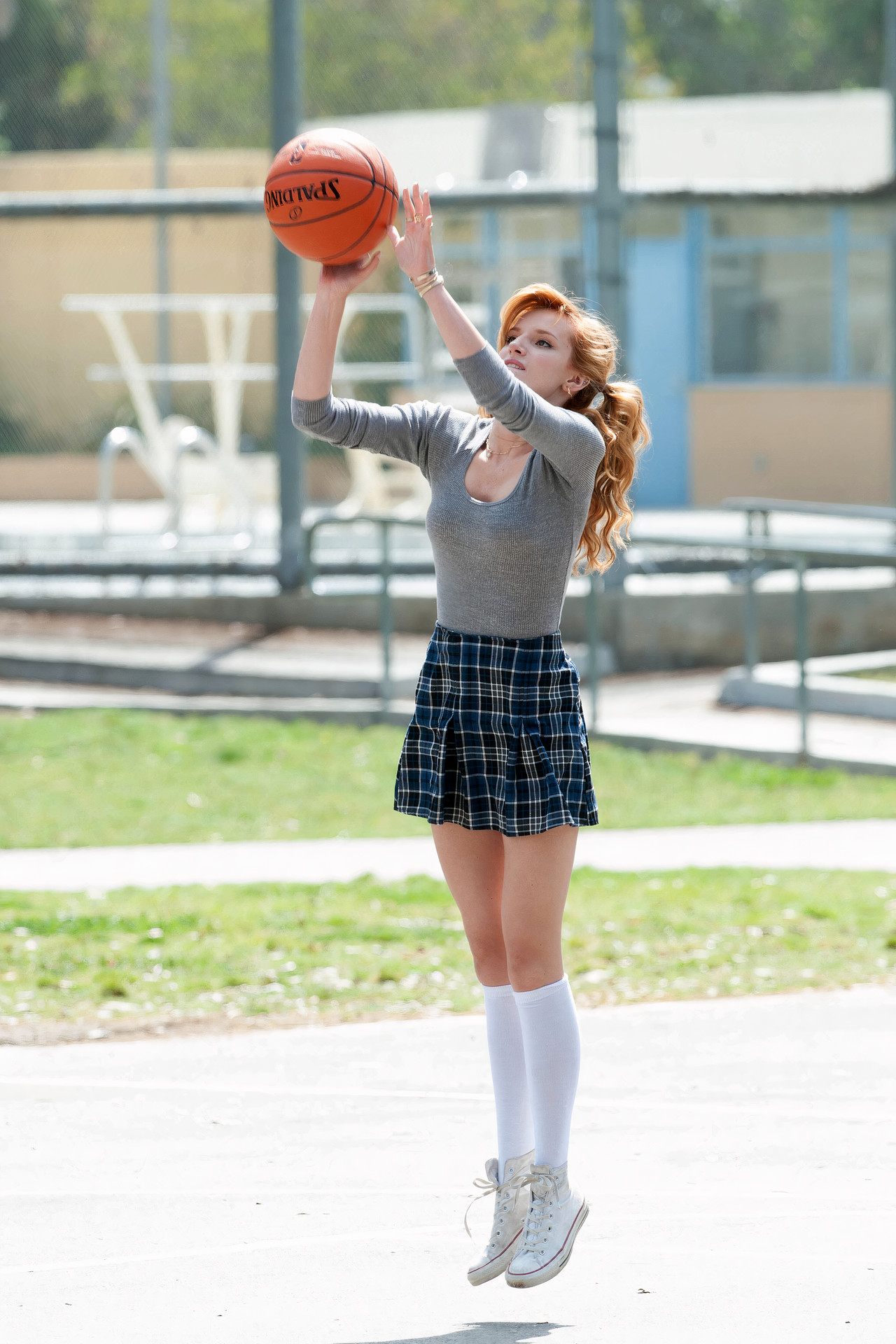 Bella Thorne Women Actress Legs Basketball Movies Redhead Sneakers Knee High Socks Long Hair Jumping 1280x1920