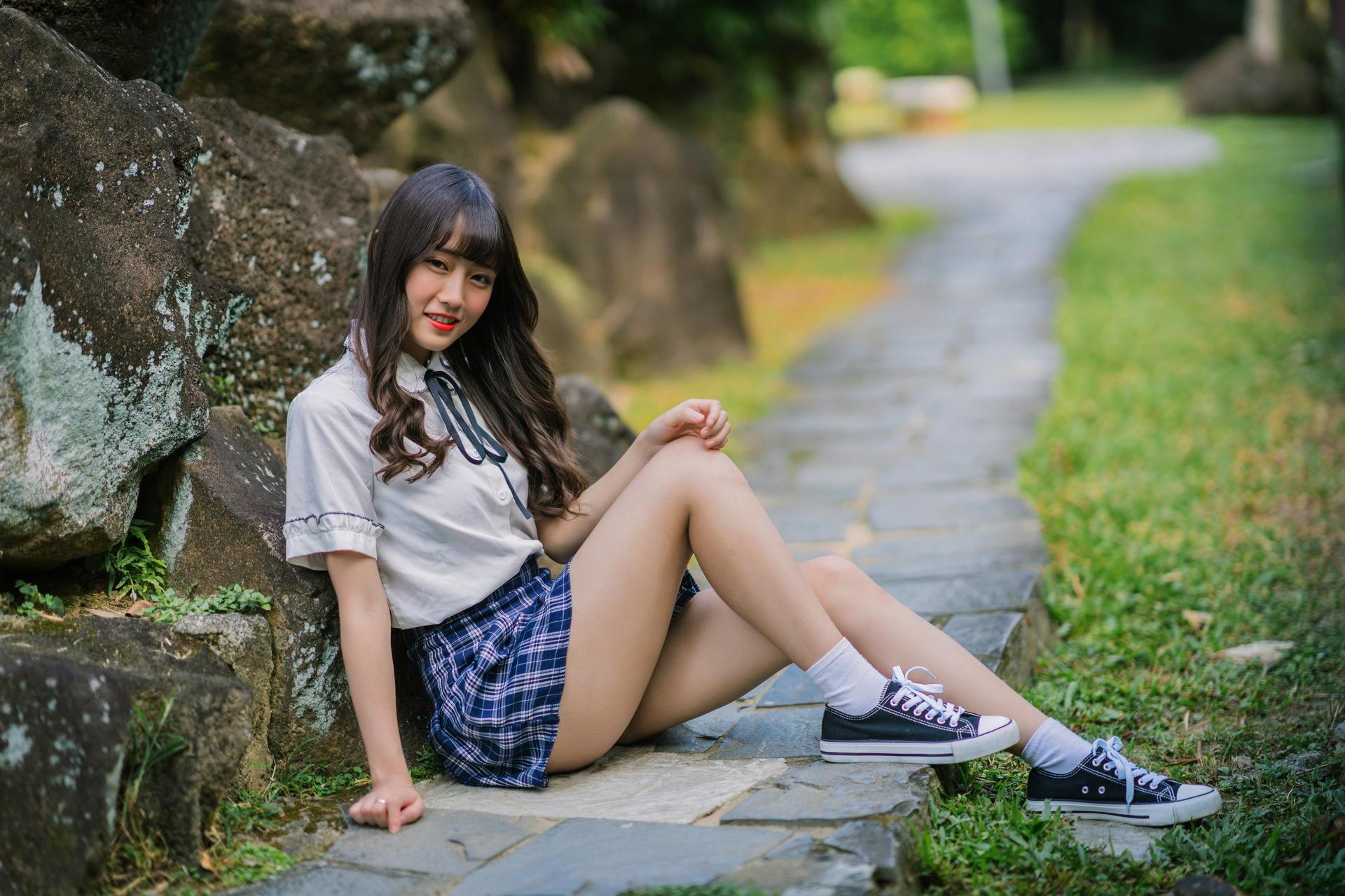 Asian Model Women Long Hair Dark Hair Skirt White Blouse School Uniform Sneakers White Socks Sitting 1920x1280