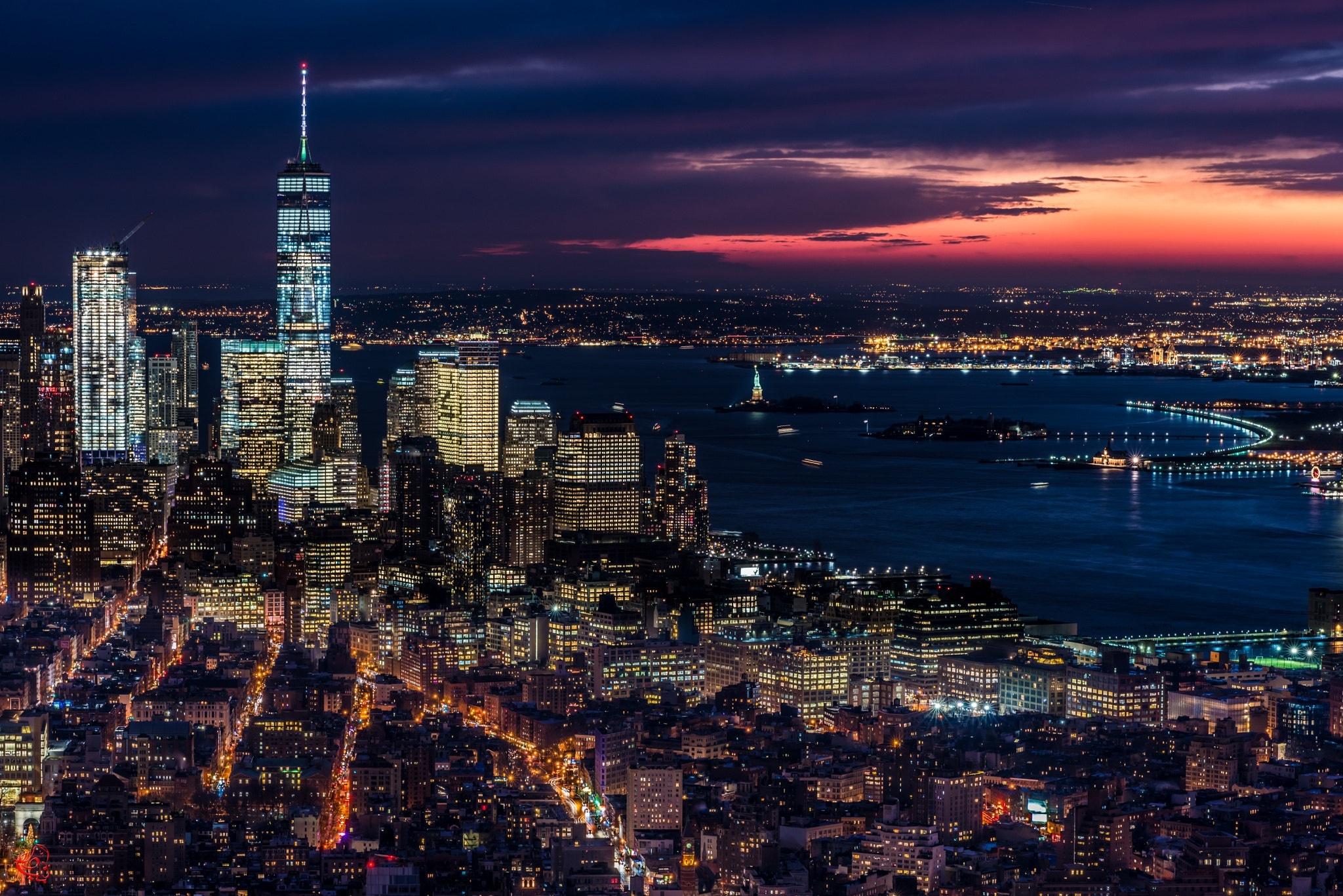 Usa City Night Cityscape Horizon Building Skyscraper 2048x1367