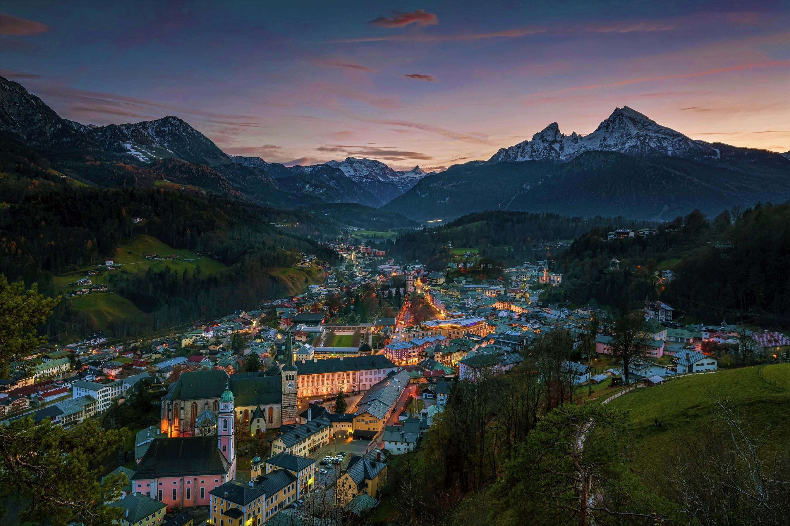 Bavaria Germany Mountain Forest Valley Dusk Twilight Night Light 2700x1800