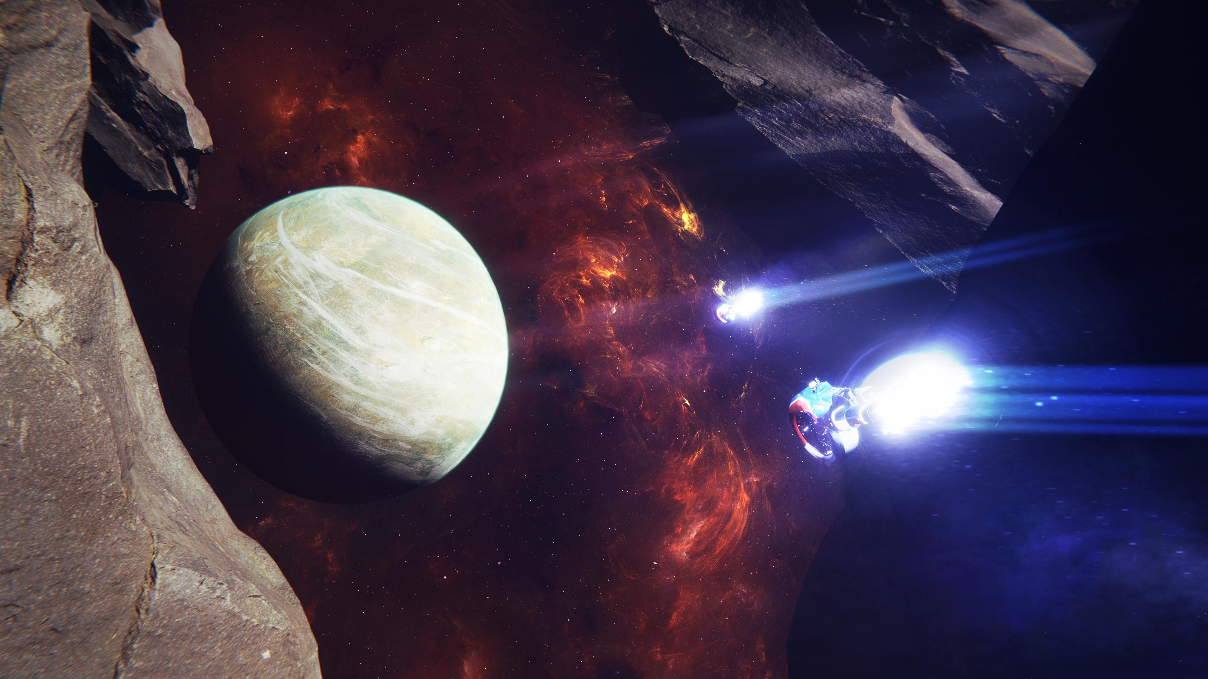 Space Spaceship Spacescapes Planet Asteroid Nebula 3840x2160