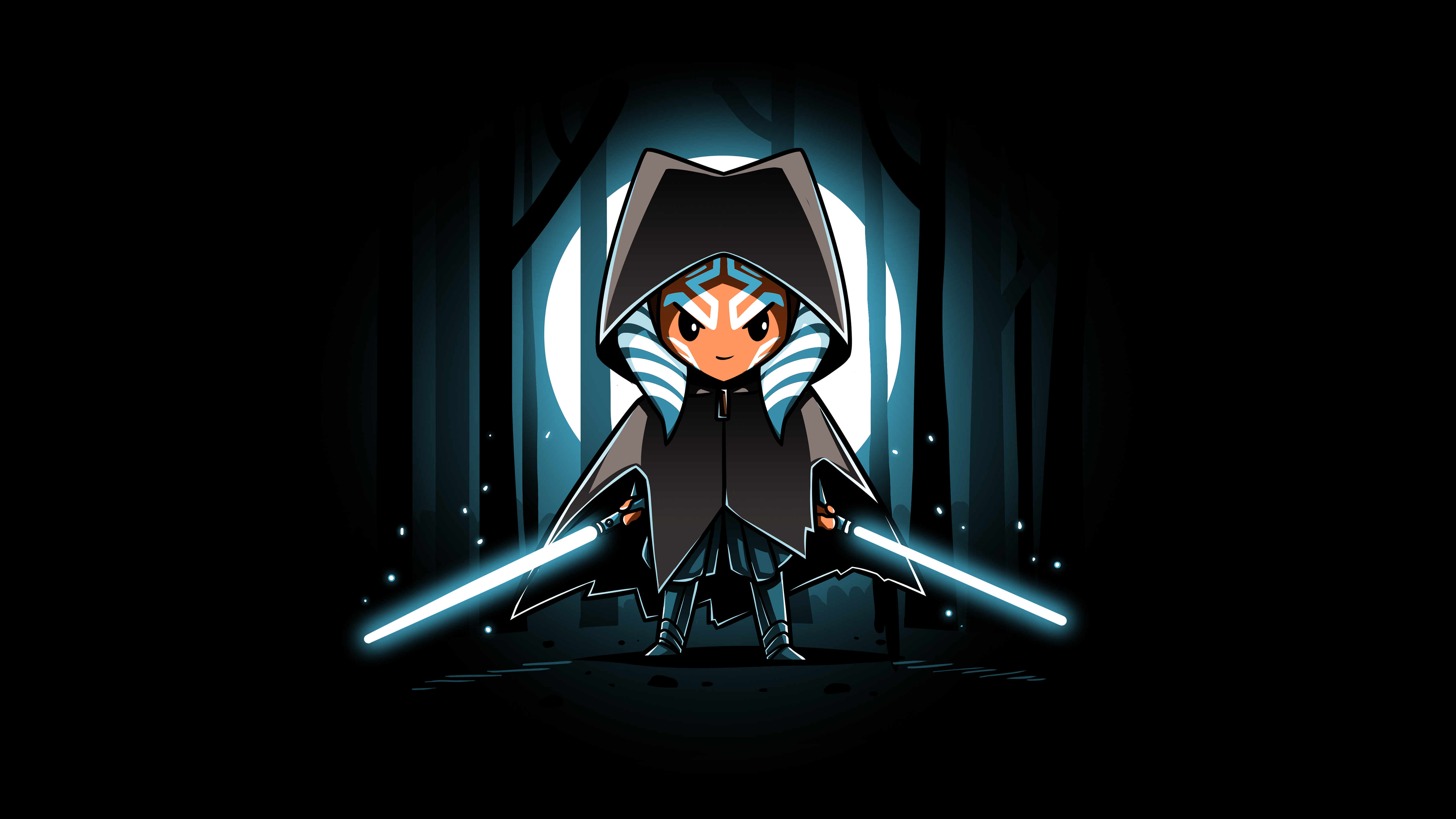 Star Wars Ahsoka Tano Artwork Lightsaber Cloaks Black Background Jedi Minimalism The Mandalorian 5120x2880