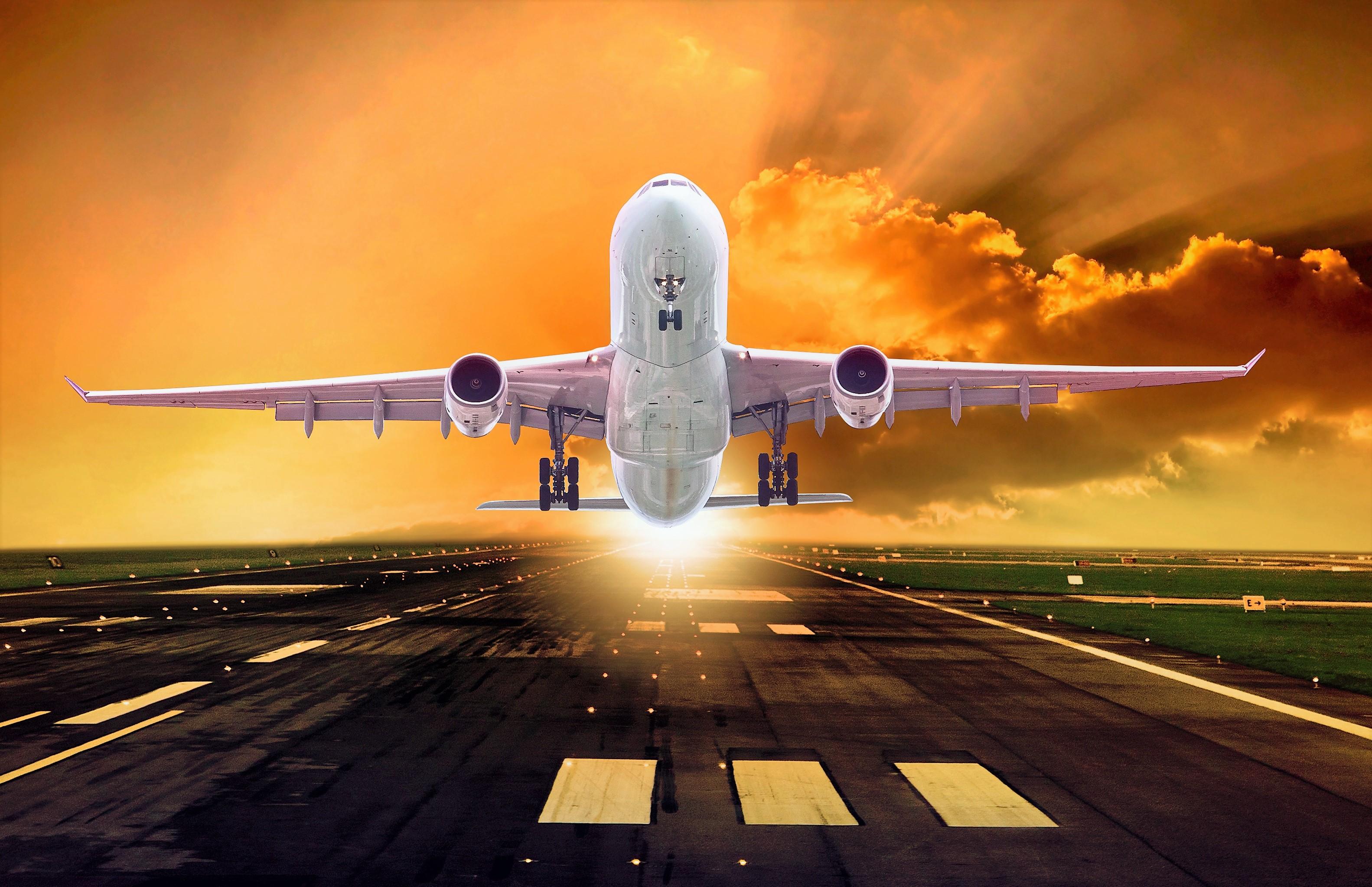 Artistic Airplane Sky Sunset Orange Color Passenger Plane 3165x2046