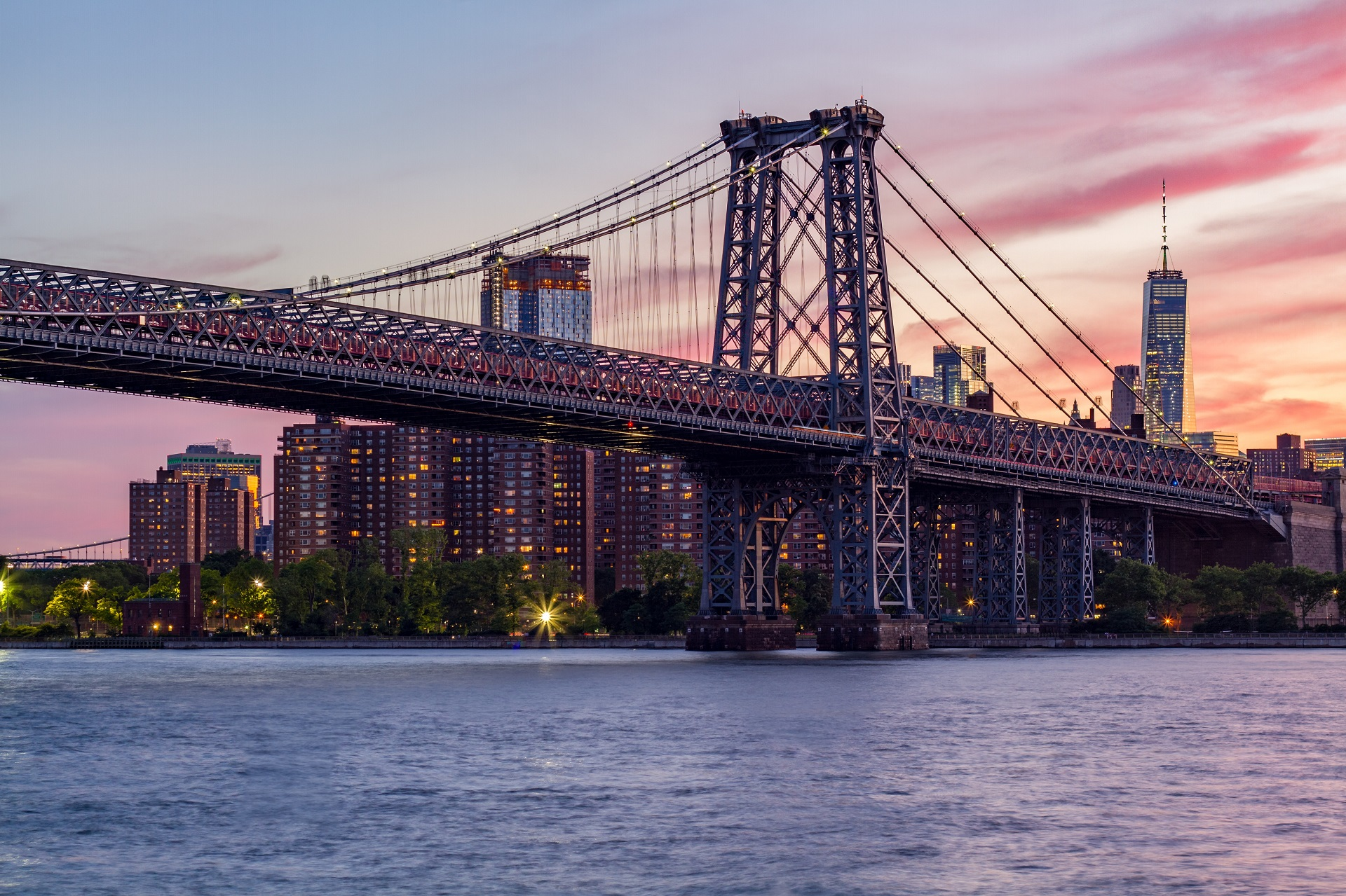 City Bridge Architecture Williamsburg Bridge New York City USA Water Cityscape Construction 1920x1279