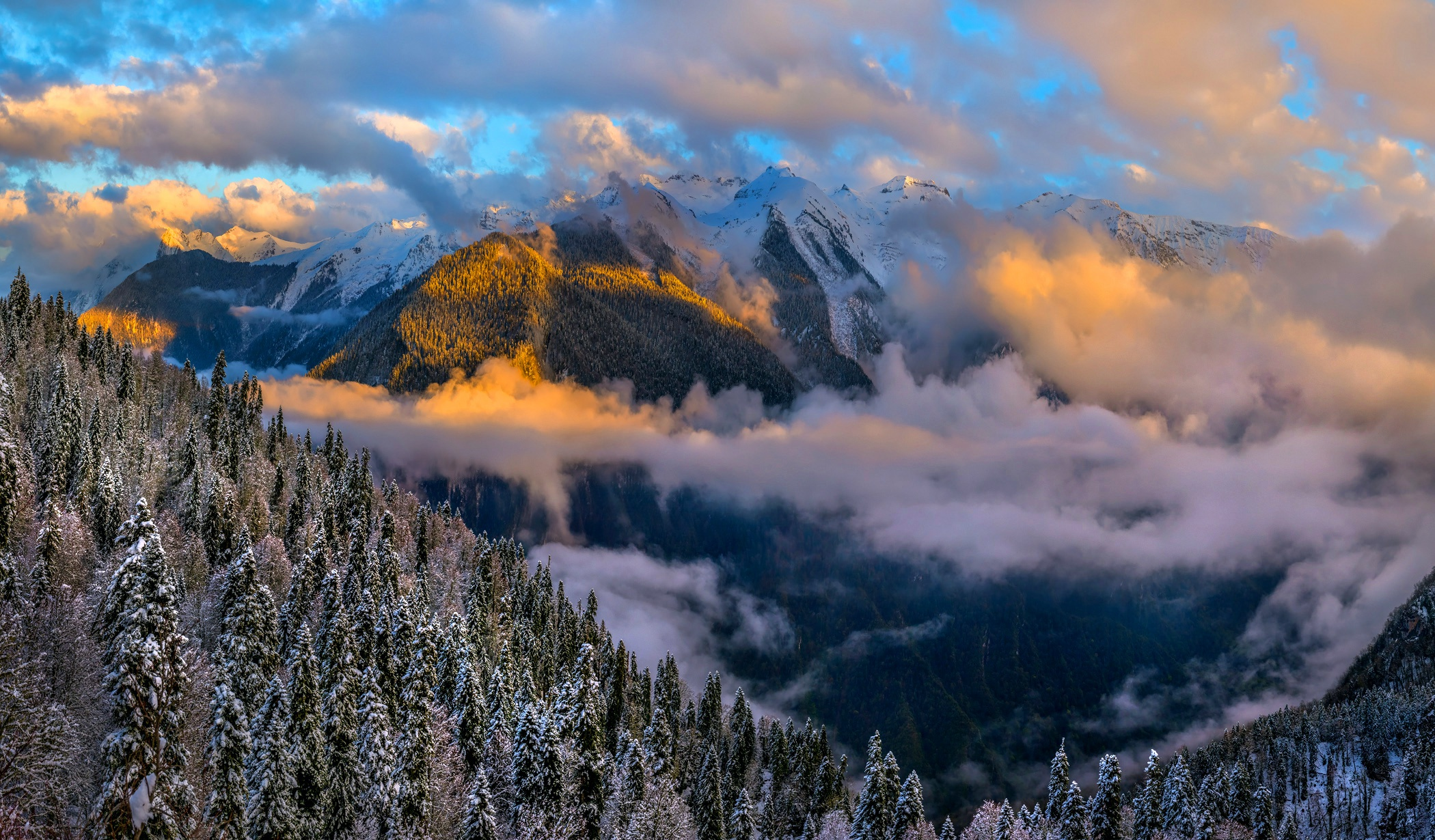 Winter Cloud Nature Landscape 2100x1230