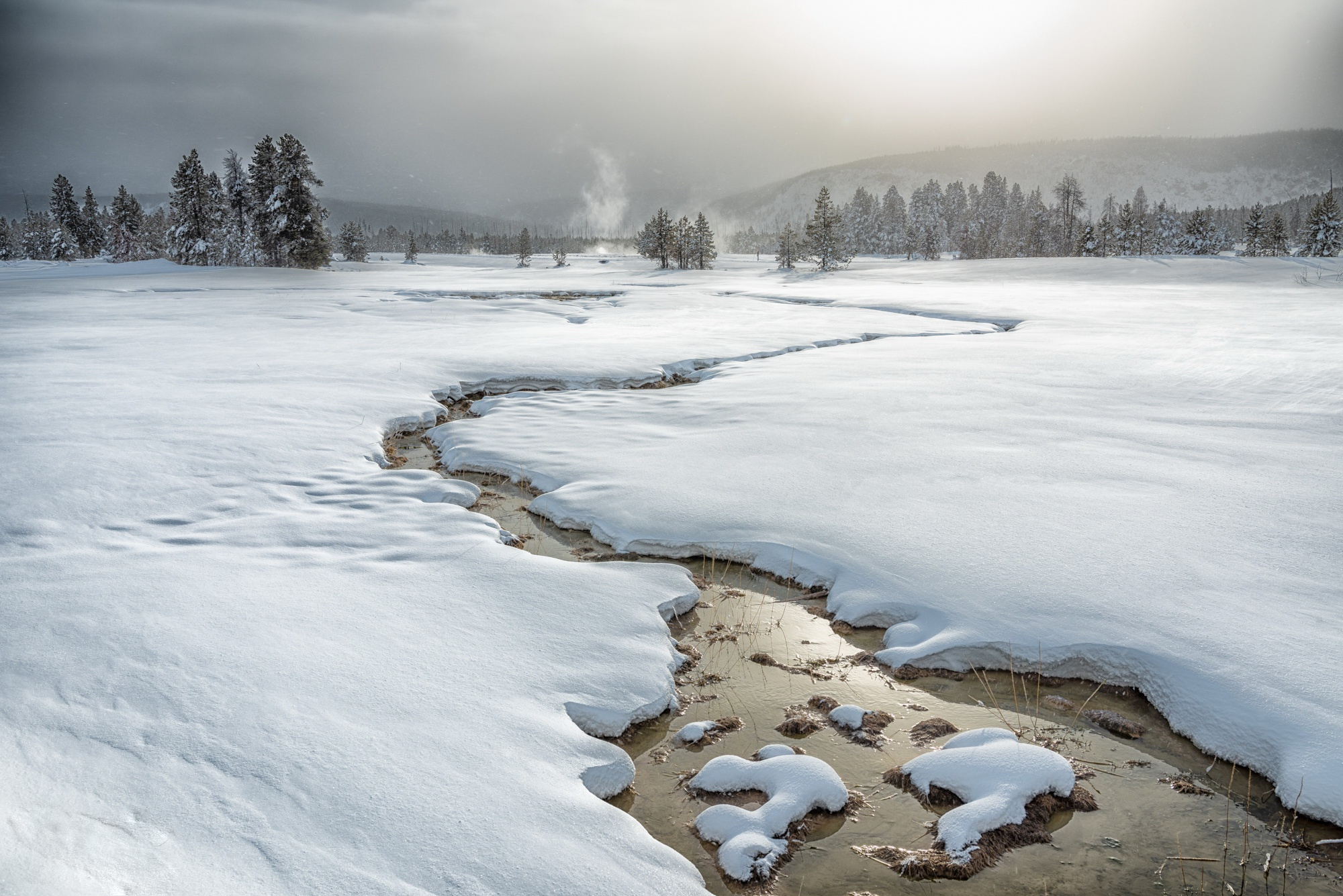 Stream Snow Landscape 2000x1335