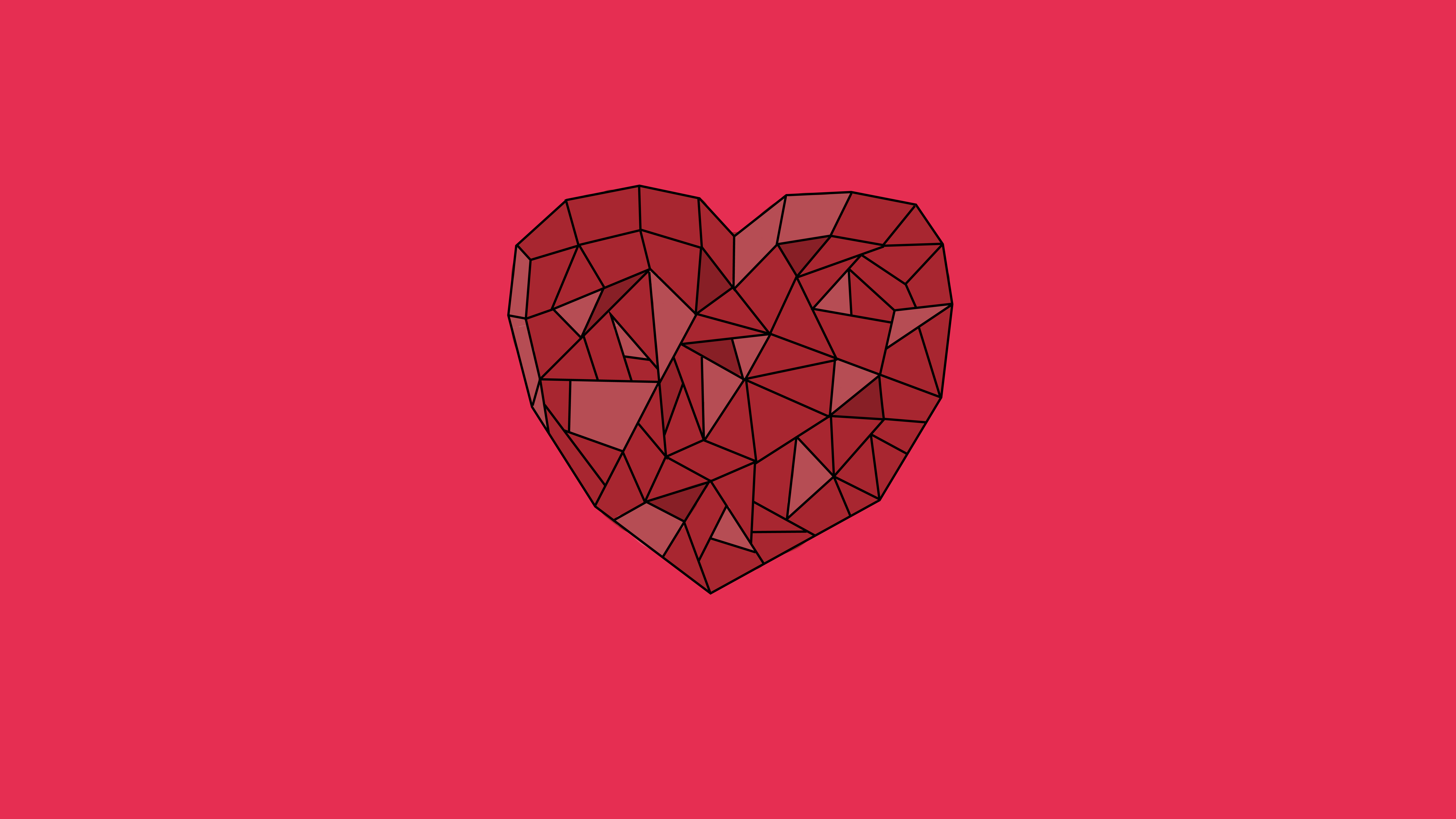 Crystal Heart Love Pink Red 8000x4500
