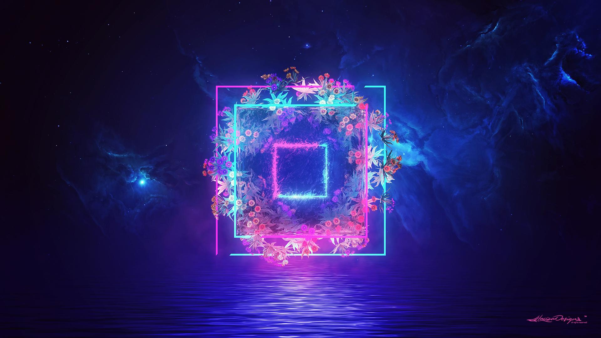 Blue Light Nebula Neon 1920x1080
