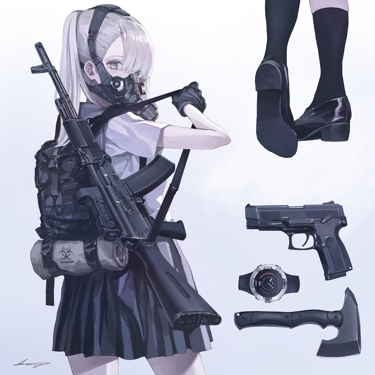 Pistol Shoes Mask Rifles White Hair 1280x1280