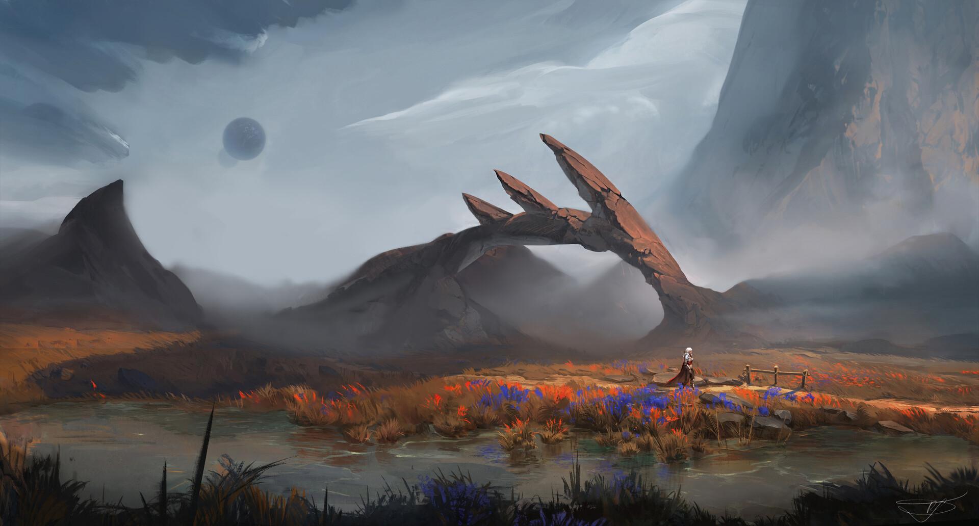 Max Suleimanov Digital Art Landscape Valley River Mist Rock Formation Clouds 1920x1032