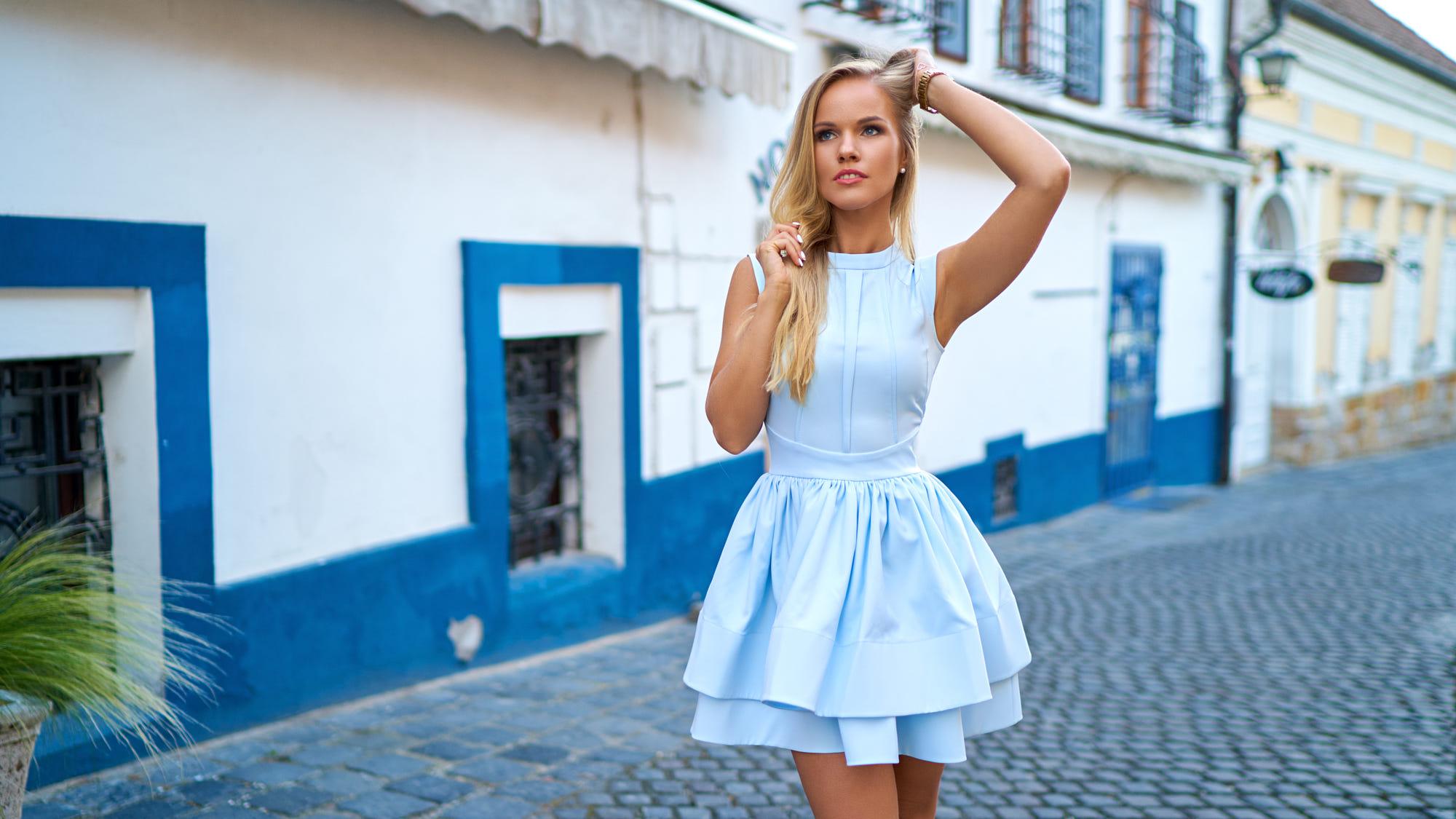 Woman Blonde Blue Eyes Dress Depth Of Field Girl 2000x1125