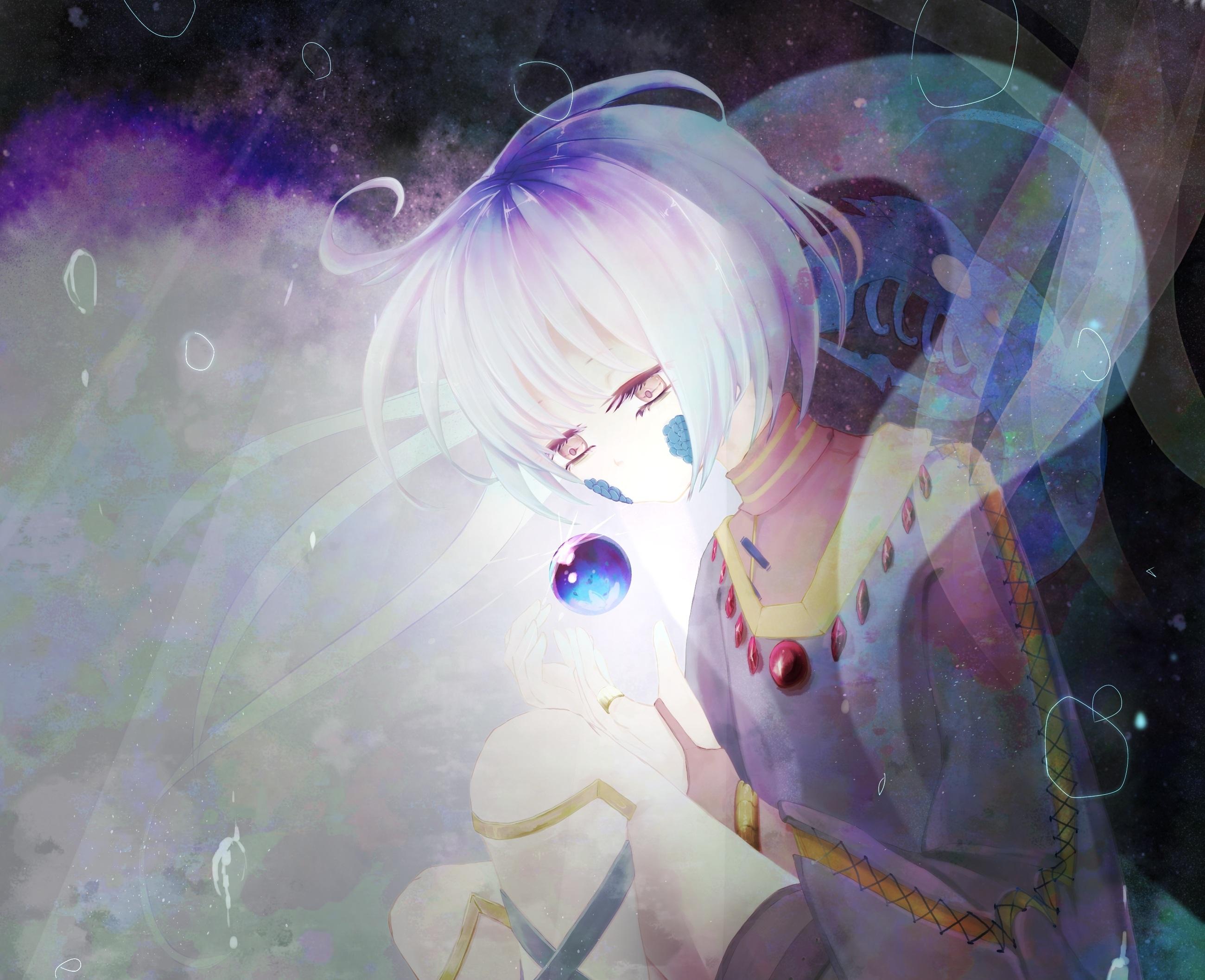Girl Sphere White Hair 2600x2116