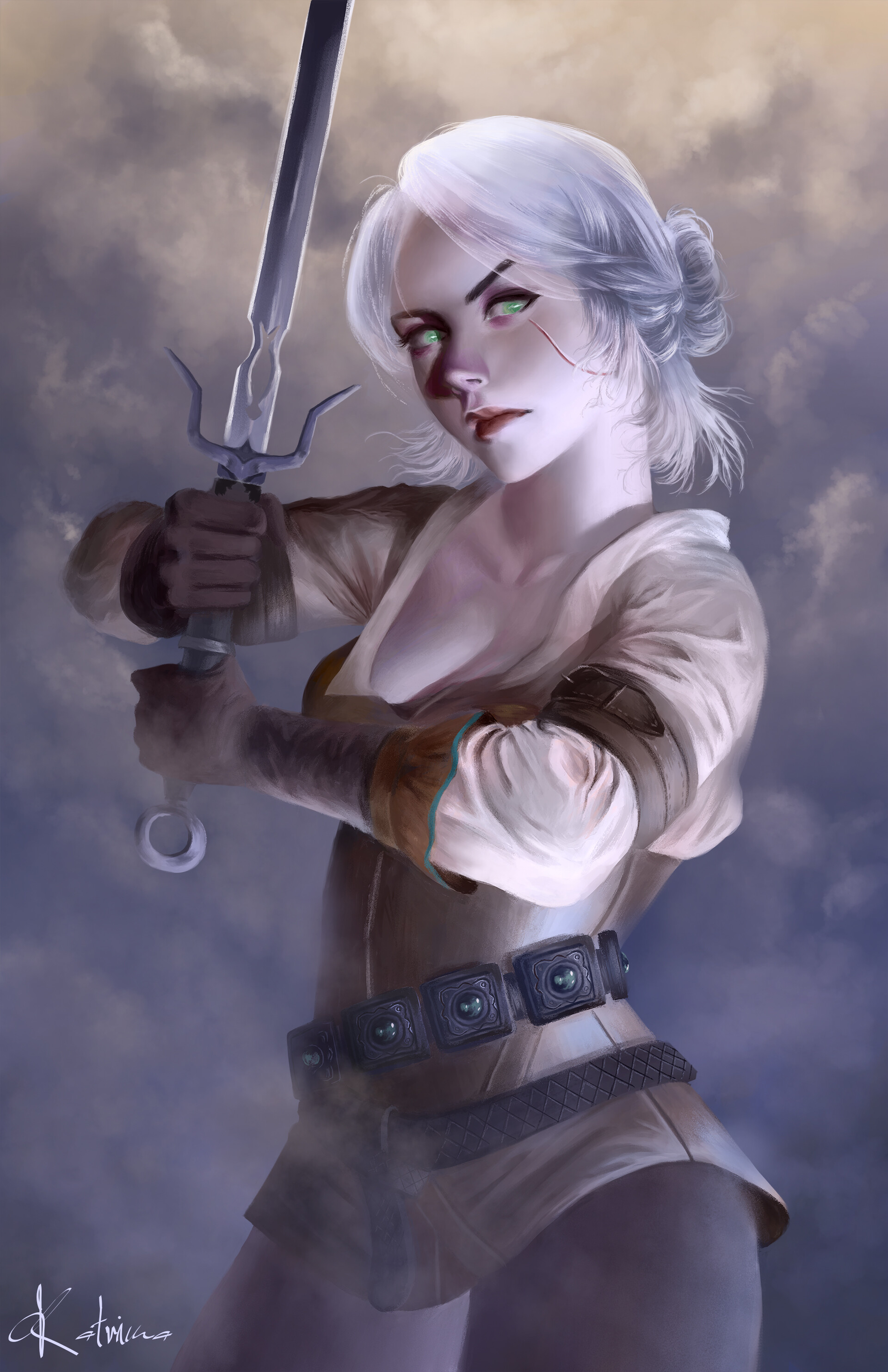Emma Ronkainen Sword Video Game Characters Ciri Scars Video Game Girls Video Game Art Digital Art Ci 1920x2966