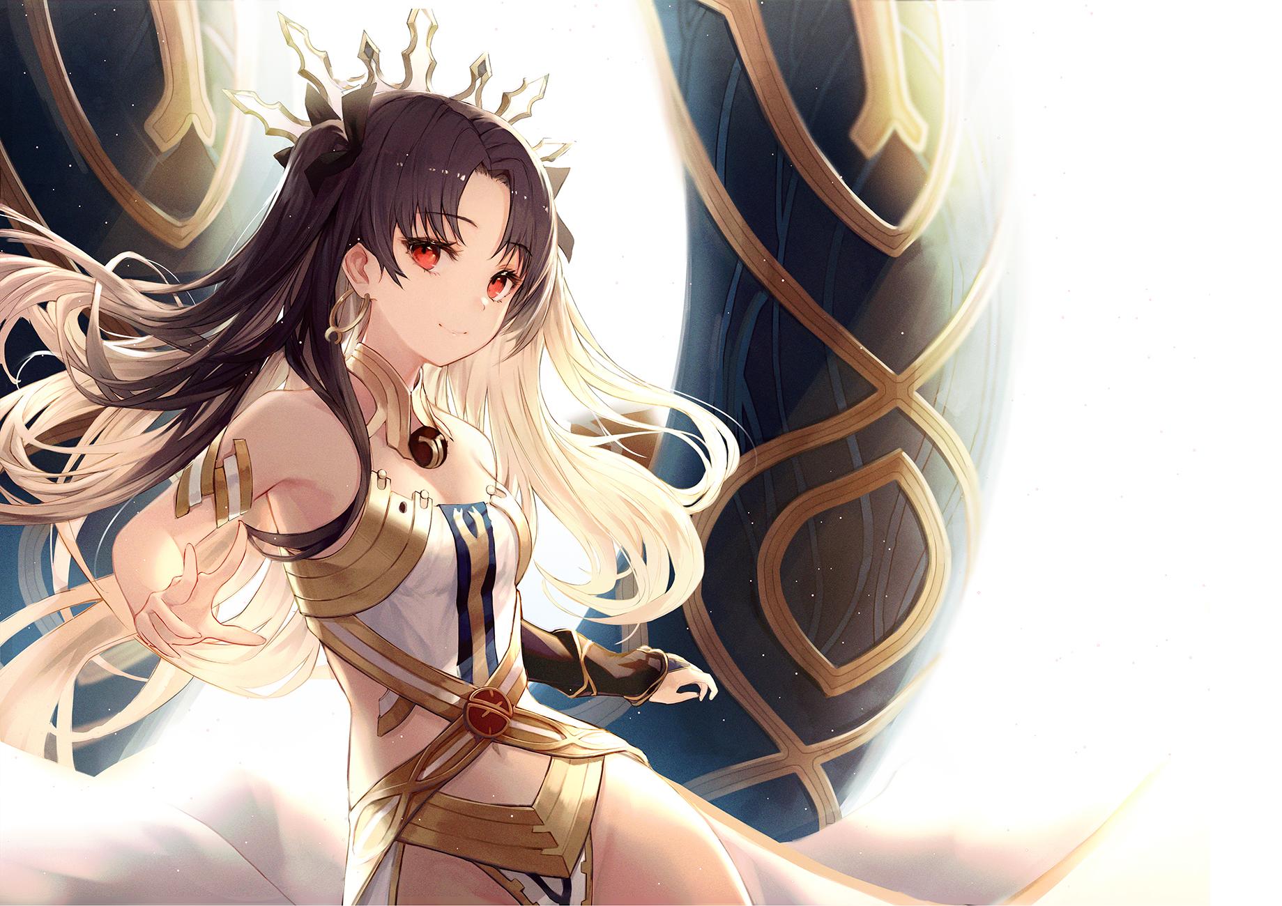 Ishtar Fate Grand Order Anime Anime Girls Portrait Digital Art Simple Background Long Hair Black Hai Wallpaper Resolution 1839x1300 Id 184272 Wallha Com